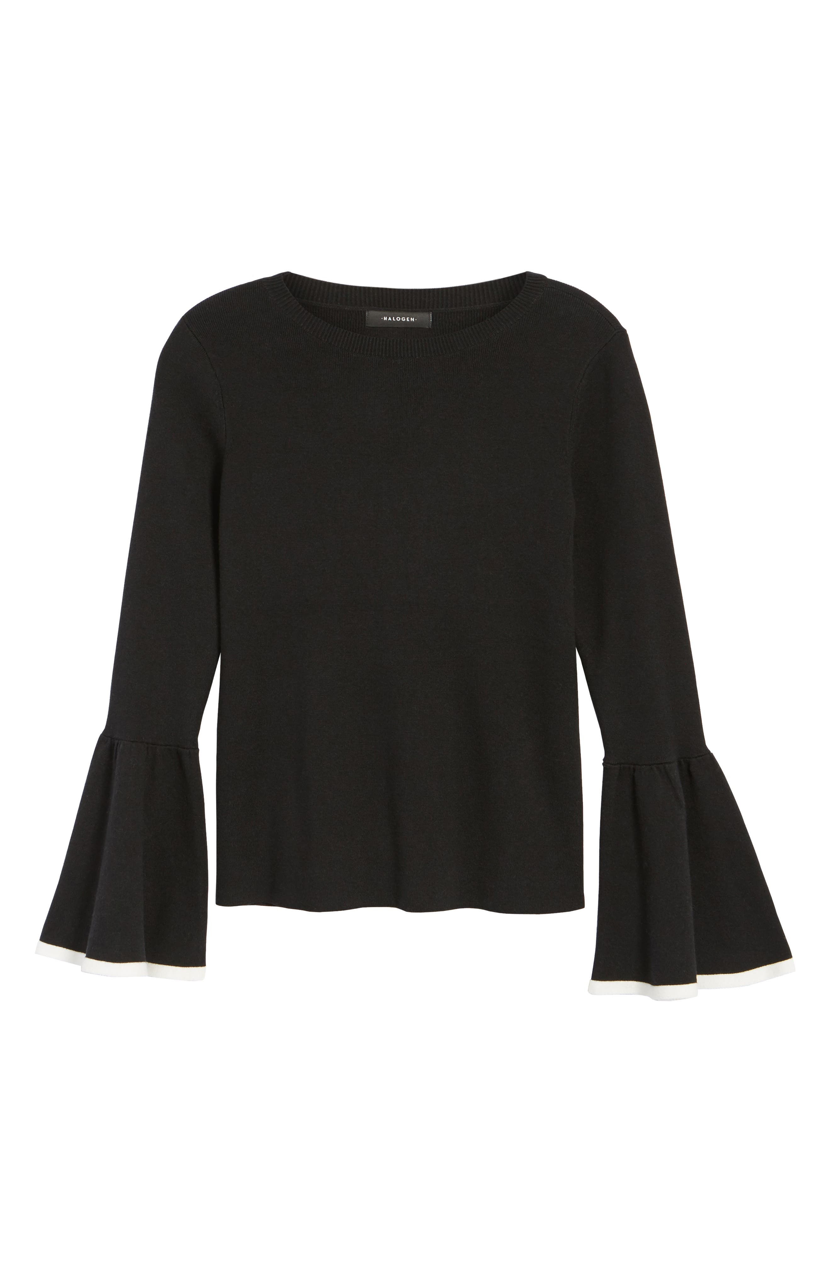 Flare Sleeve Sweater,                             Alternate thumbnail 6, color,                             001