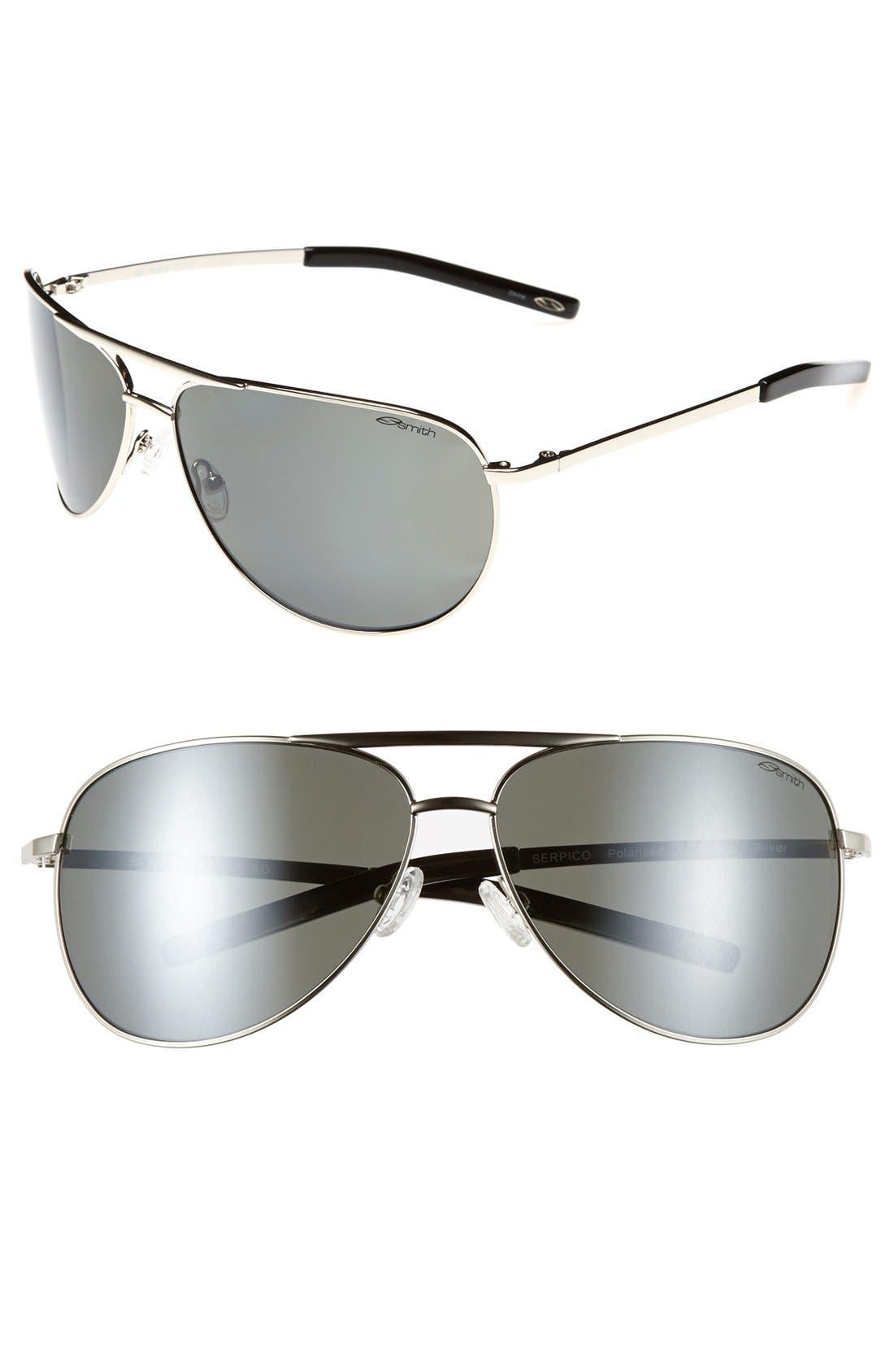Serpico 65mm Polarized Aviator Sunglasses,                         Main,                         color, SILVER