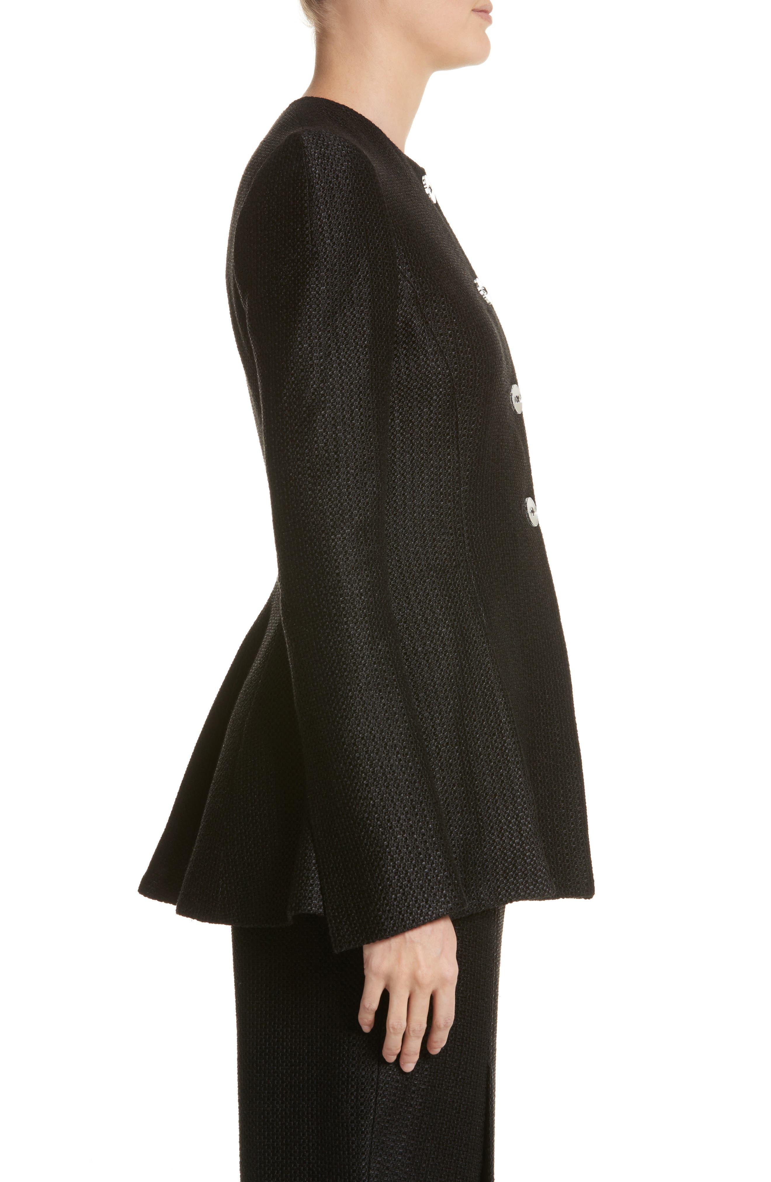 Linen & Silk Blend Tweed Jacket,                             Alternate thumbnail 3, color,                             001