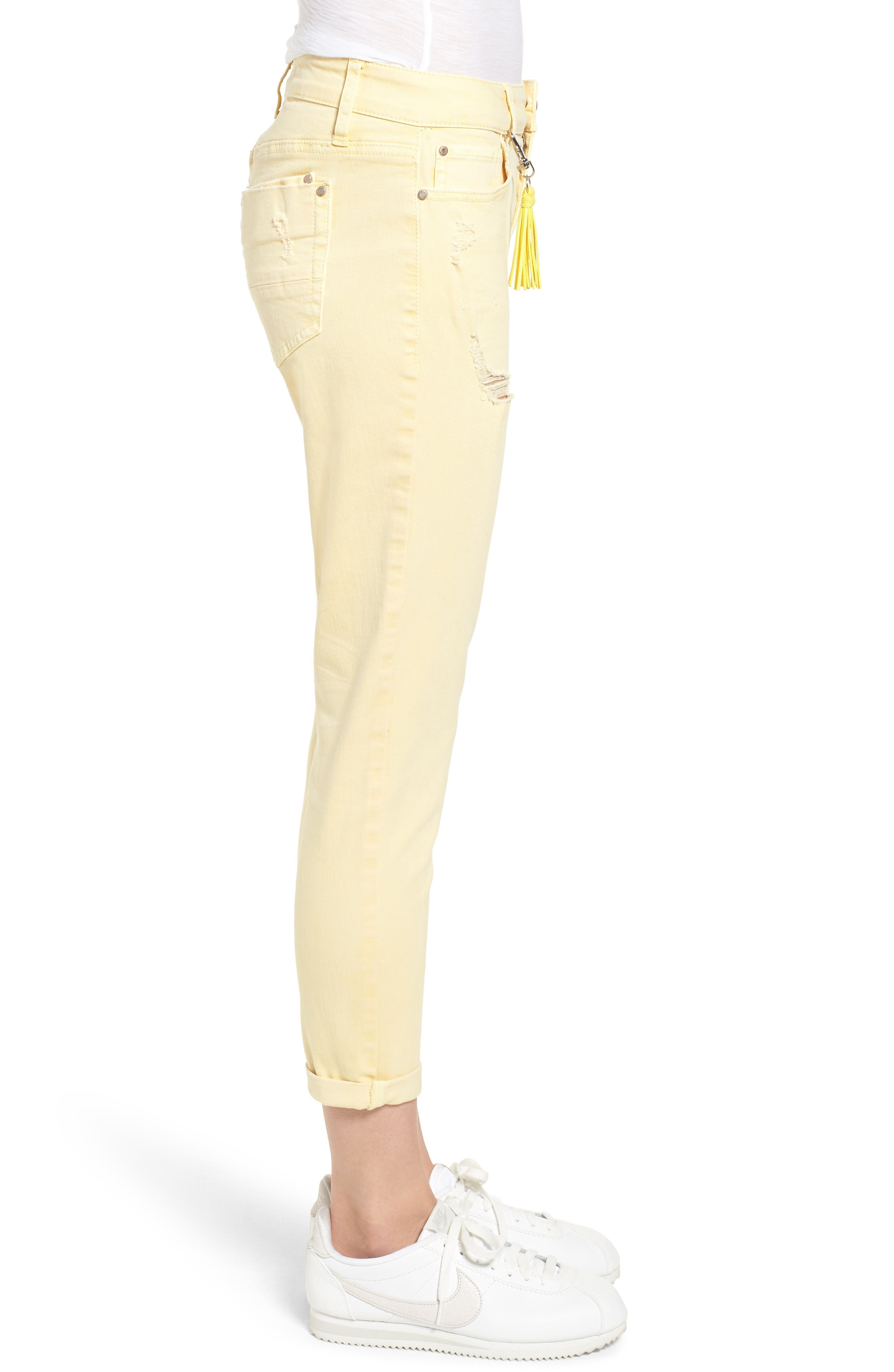 Distressed Roll Cuff Skinny Jeans,                             Alternate thumbnail 13, color,