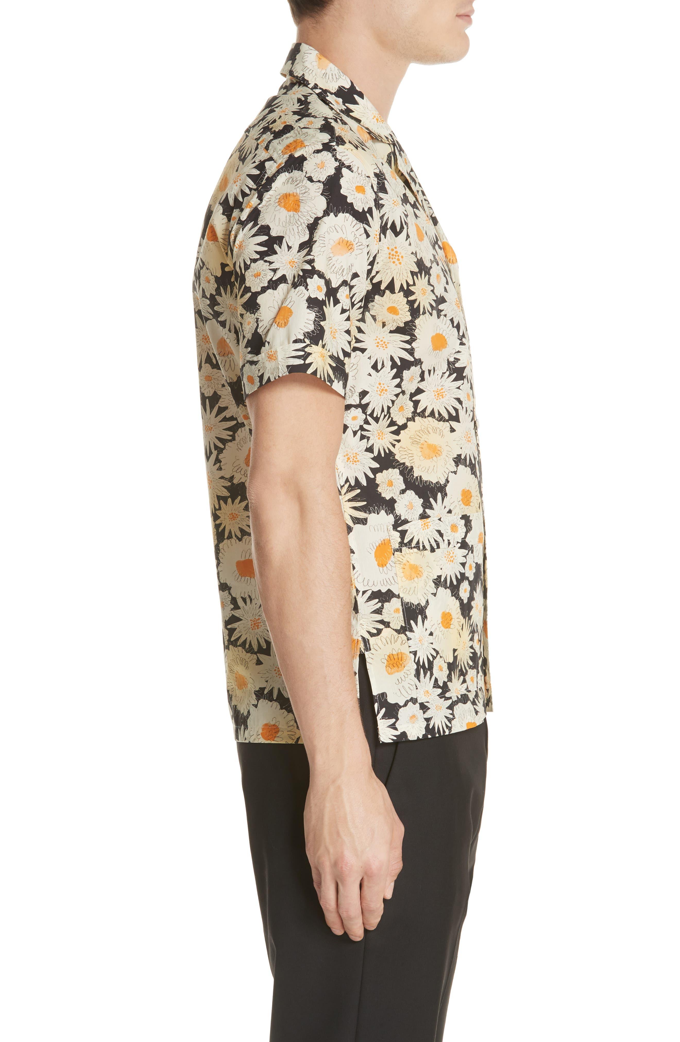 Jude Floral Print Shirt,                             Alternate thumbnail 3, color,                             001