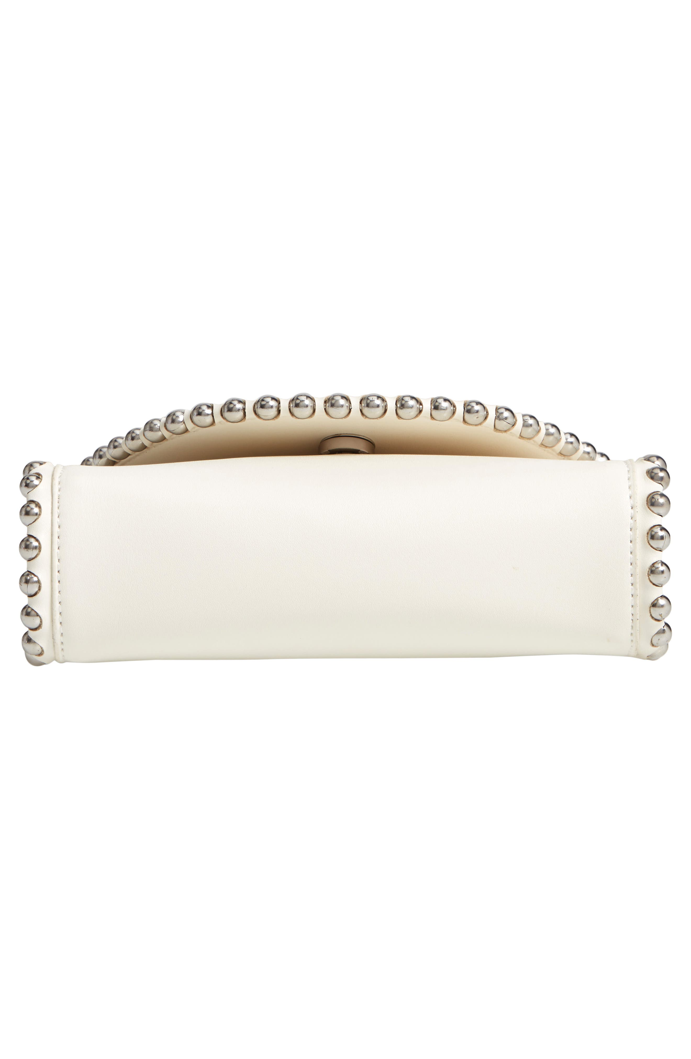 Stud Edge Faux Leather Crossbody Bag,                             Alternate thumbnail 6, color,                             IVORY
