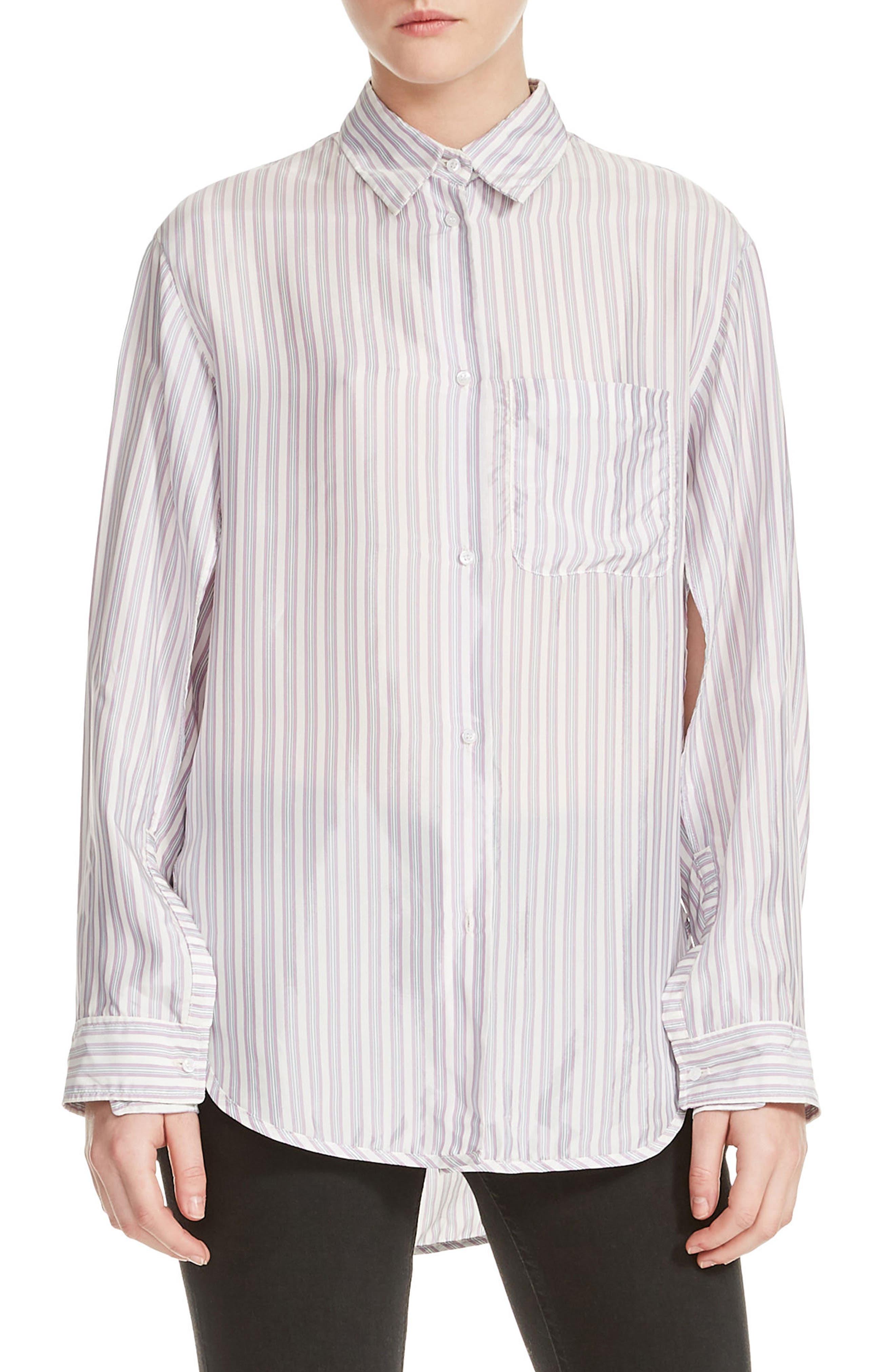 Celina High/Low Stripe Blouse,                         Main,                         color, 100