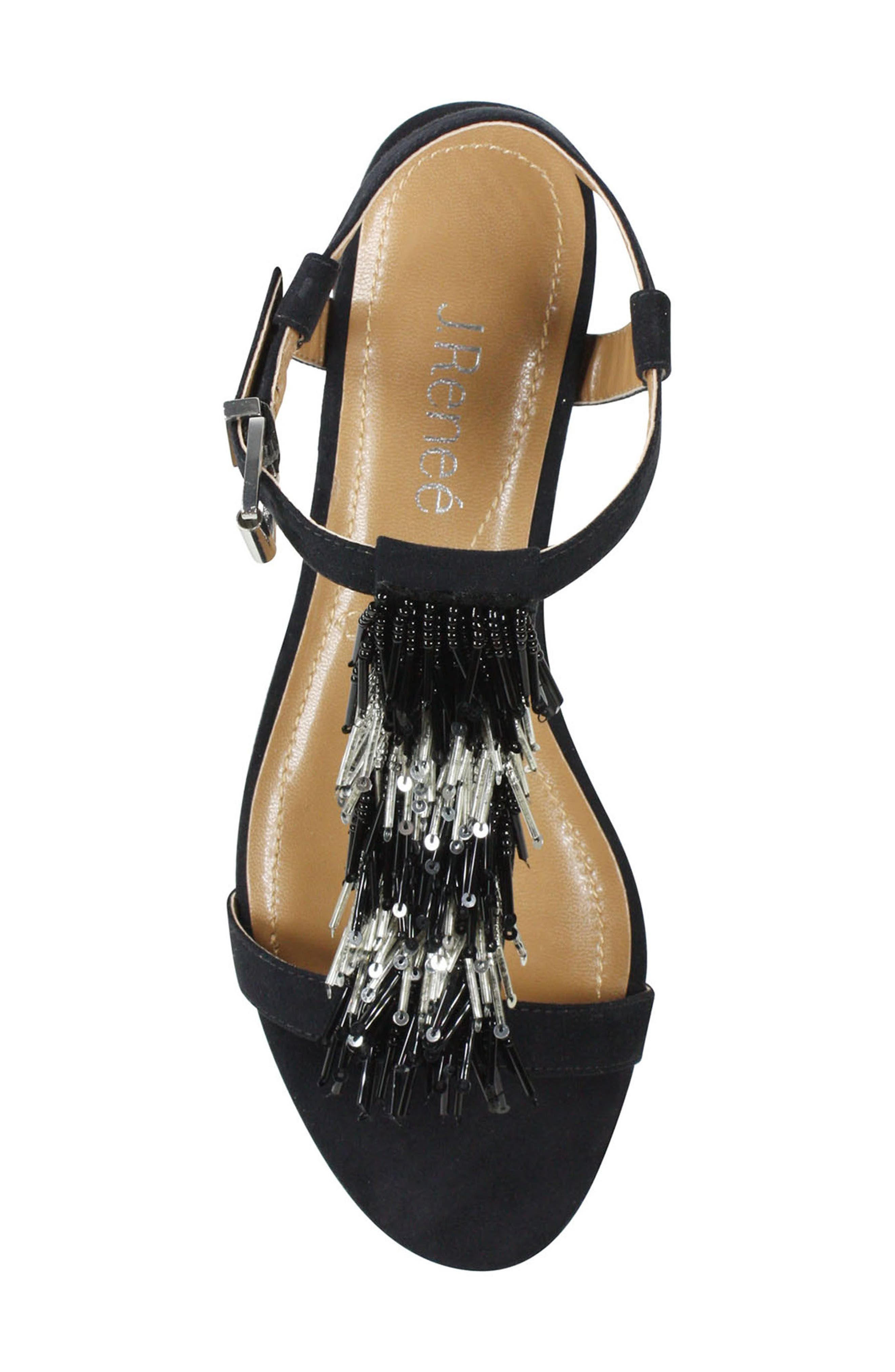 Alessa Sandal,                             Alternate thumbnail 5, color,                             BLACK/ SILVER FABRIC