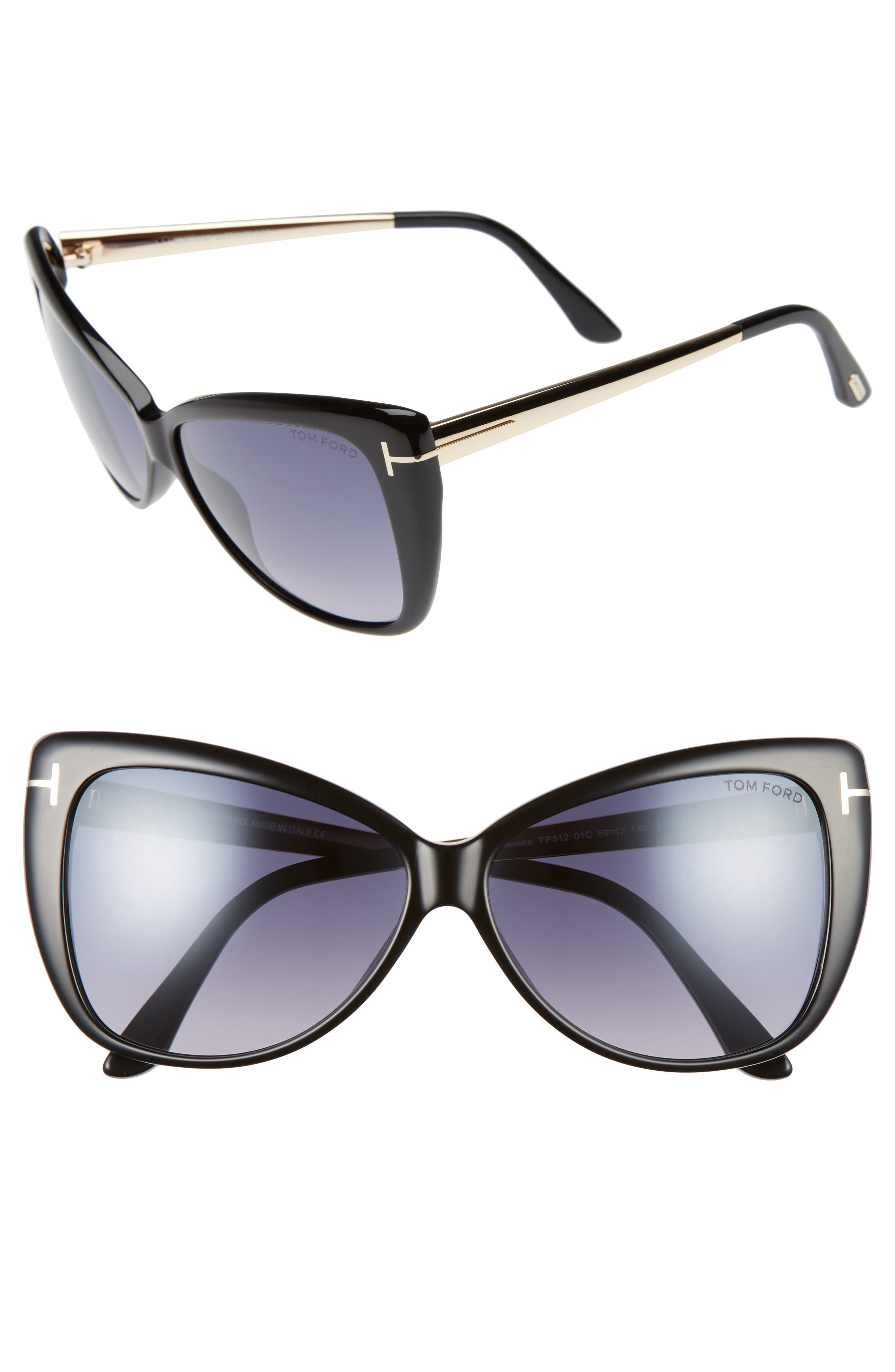 Reveka 59mm Special Fit Butterfly Sunglasses,                             Alternate thumbnail 2, color,                             001
