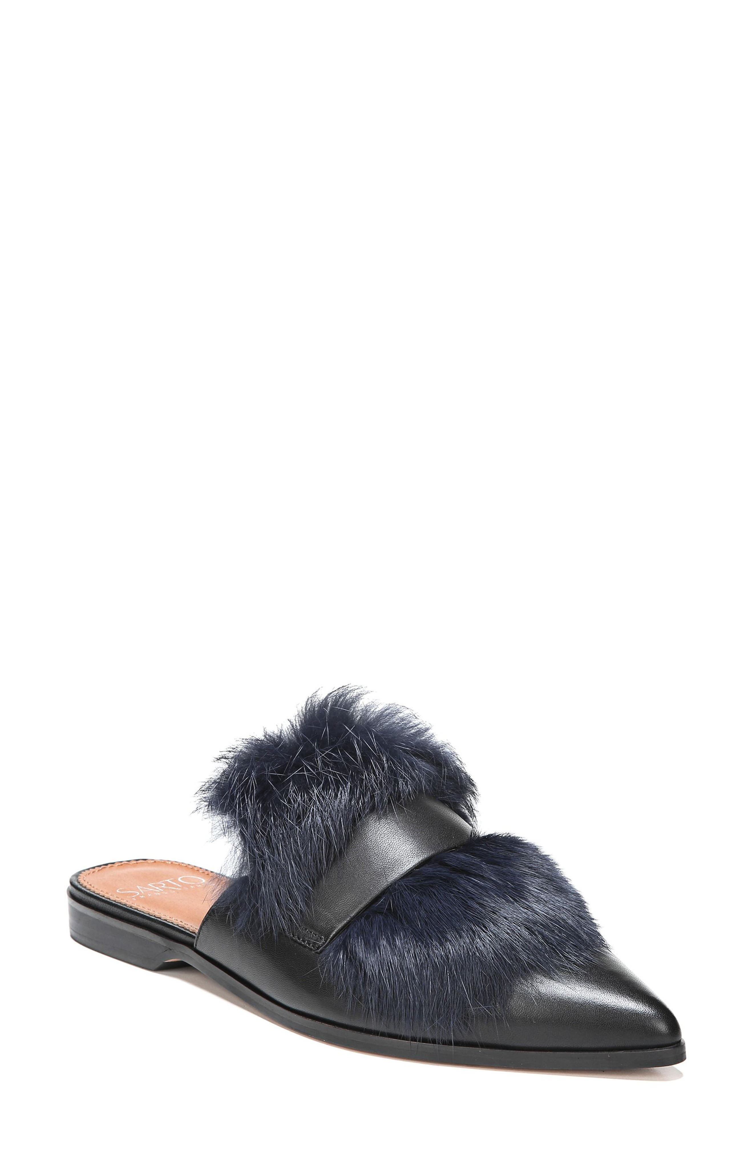 Palmer II Genuine Rabbit Fur Slide,                             Main thumbnail 1, color,                             001