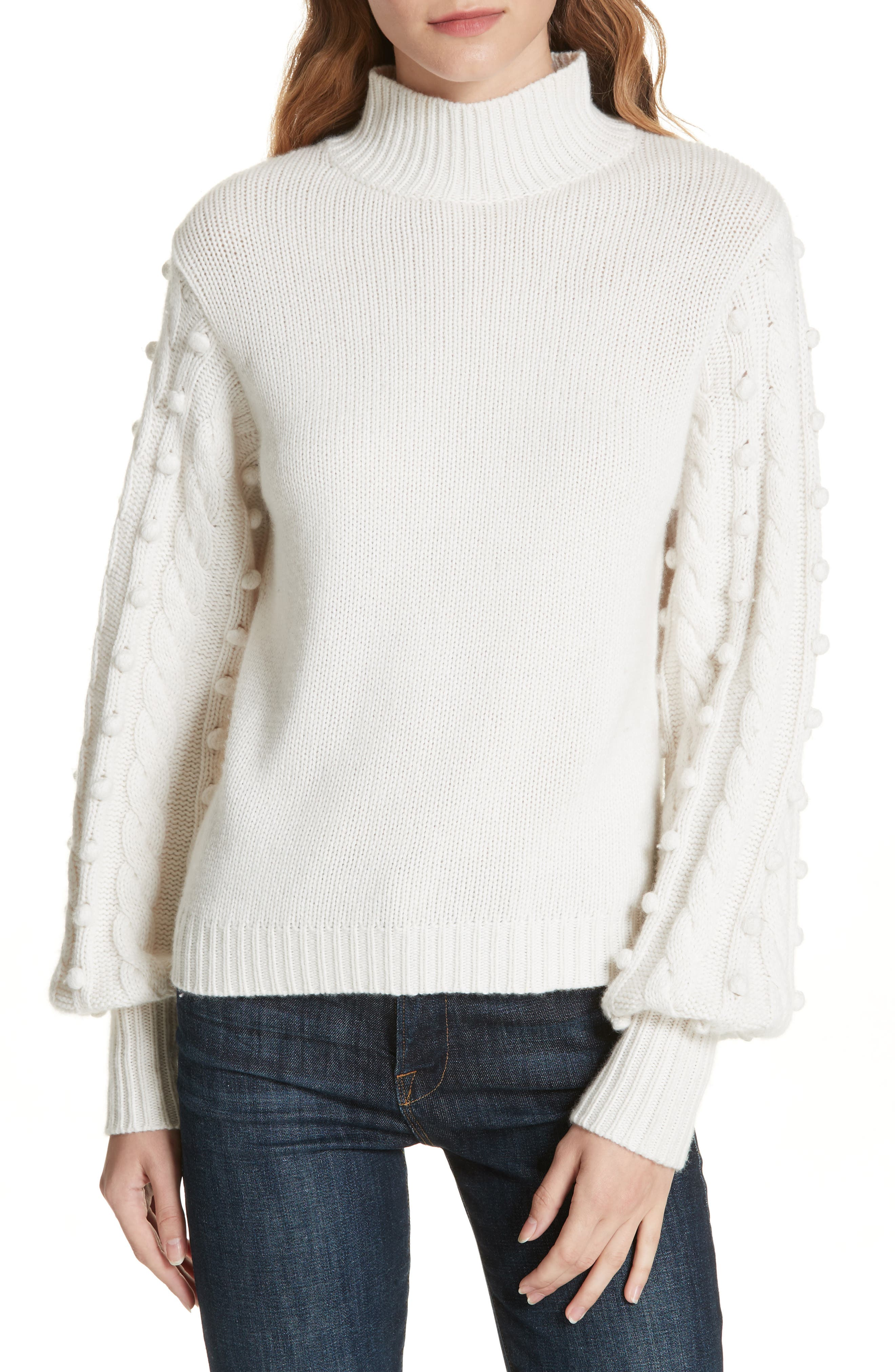 Autumn Cashmere Popcorn Sleeve Cashmere & Wool Blend Sweater, Ivory