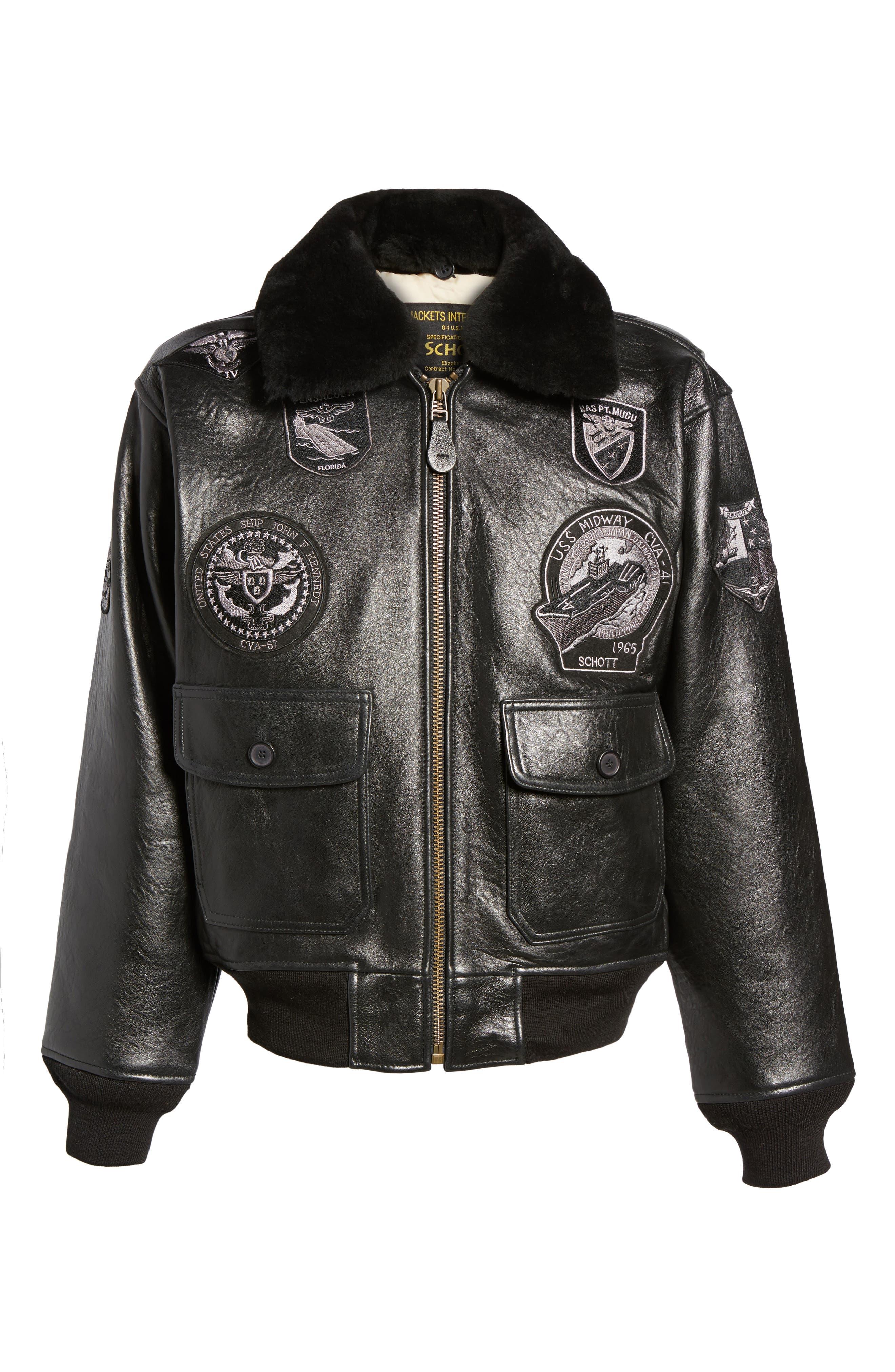 SCHOTT NYC,                             Genuine Shearling Collar G-1 Flight Jacket,                             Alternate thumbnail 5, color,                             BLACK