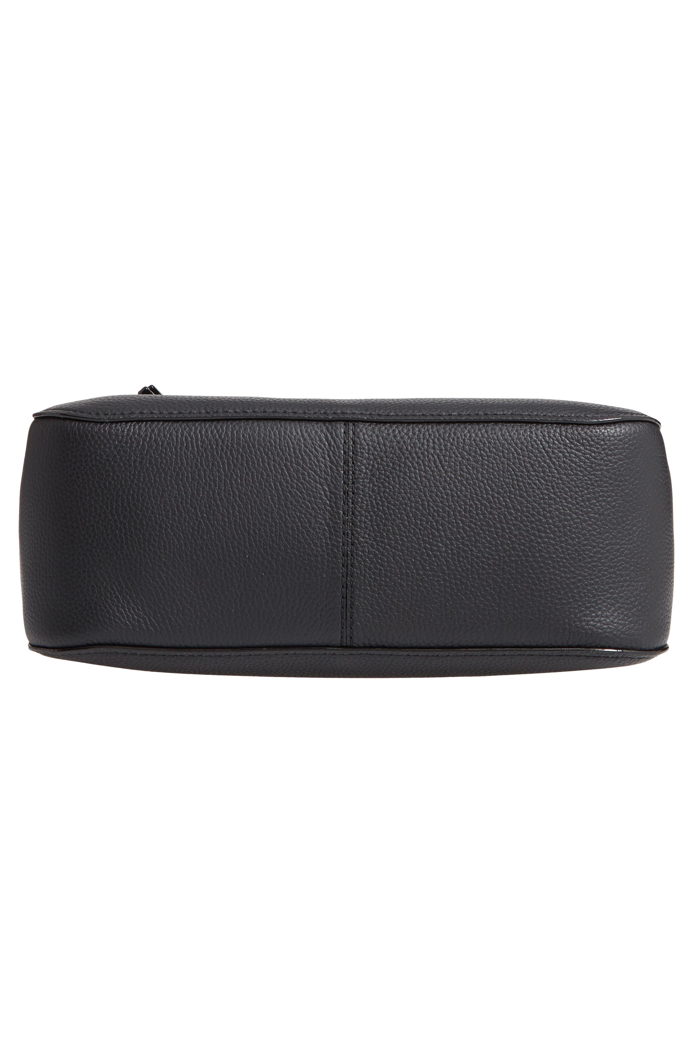 jackson street - quincy leather hobo,                             Alternate thumbnail 6, color,                             BLACK