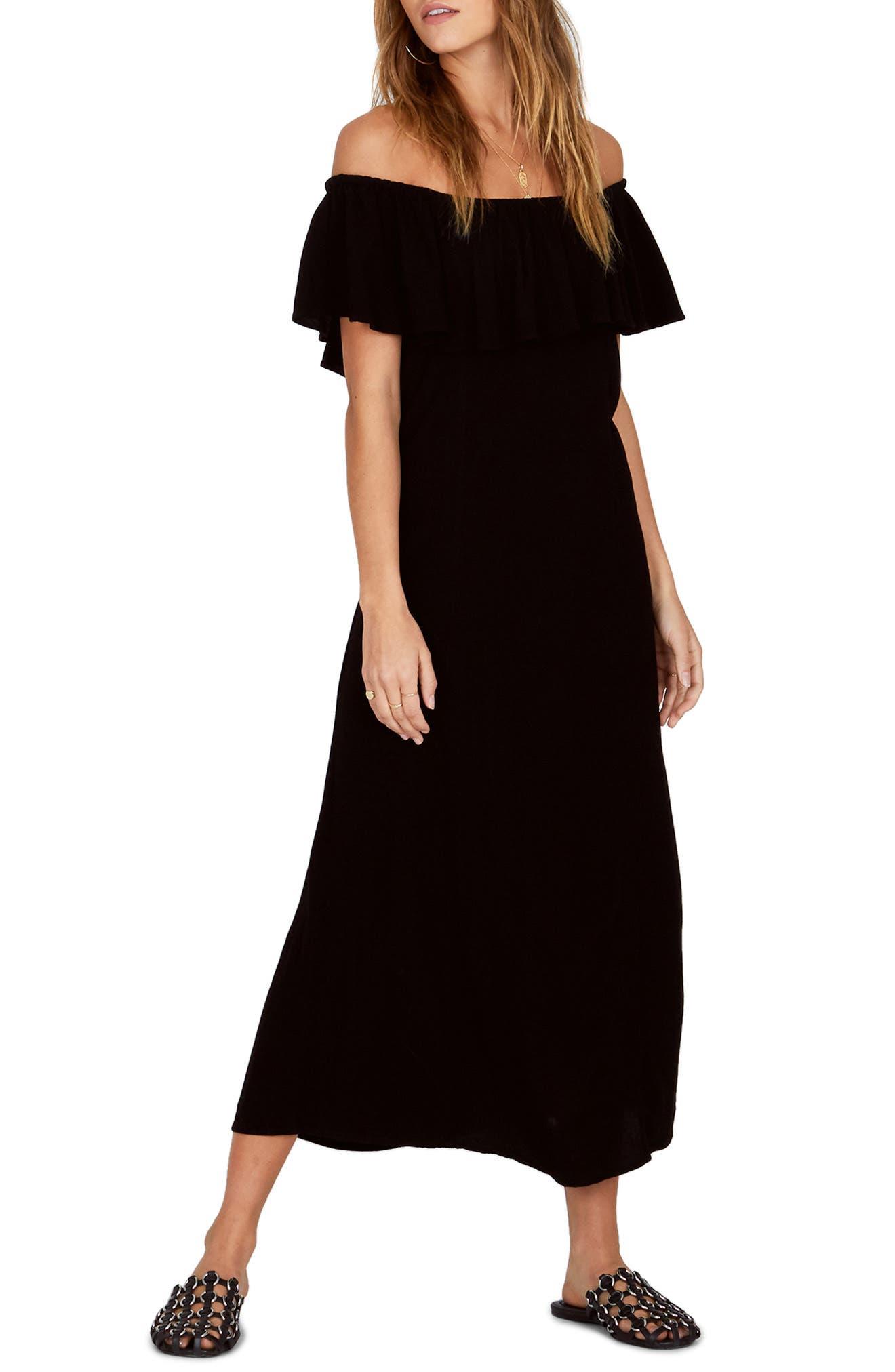 Vista Del Valle Off the Shoulder Ruffle Maxi Dress,                             Alternate thumbnail 6, color,                             001