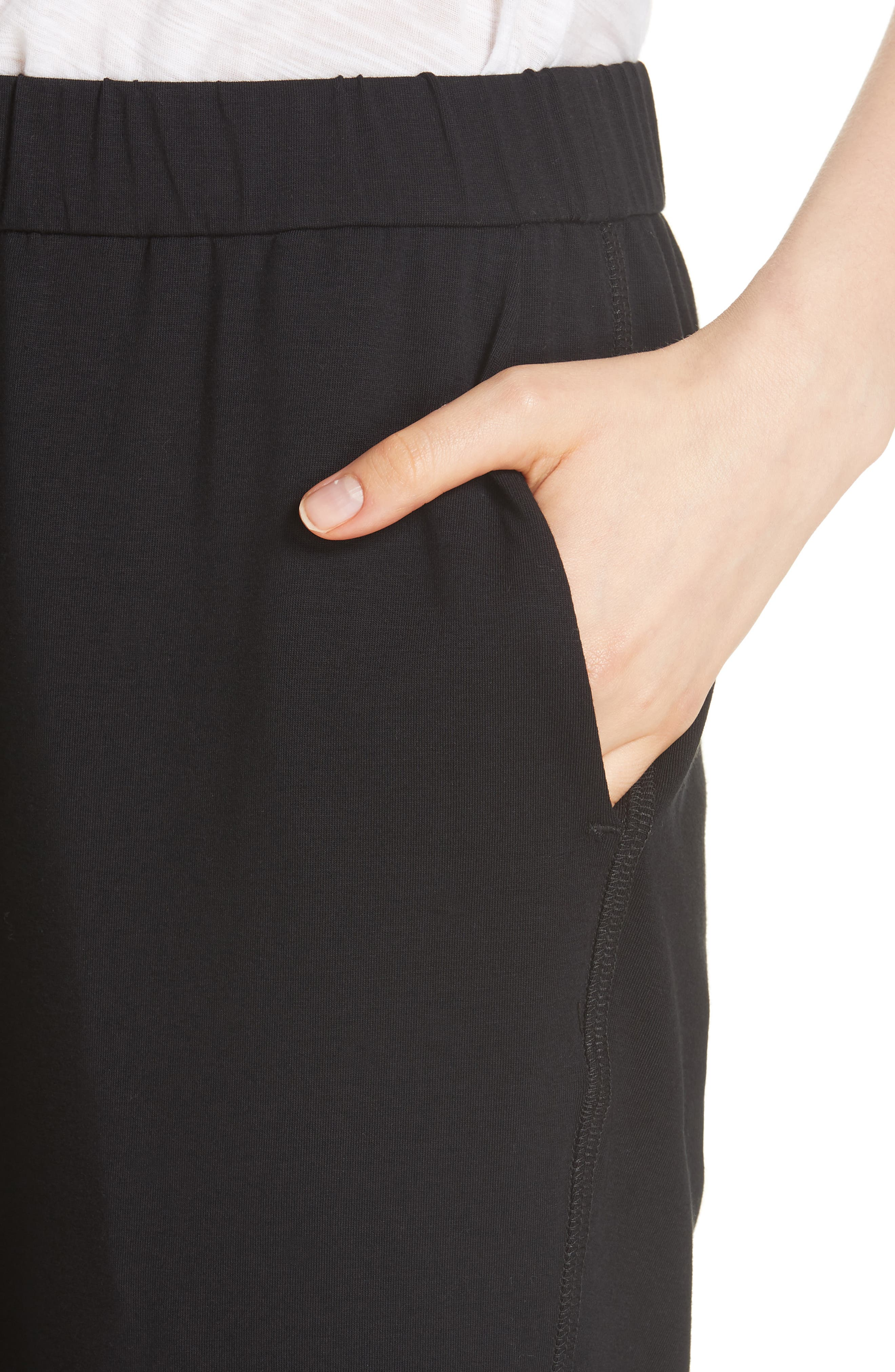 Slim Cropped Pants,                             Alternate thumbnail 4, color,                             BLACK
