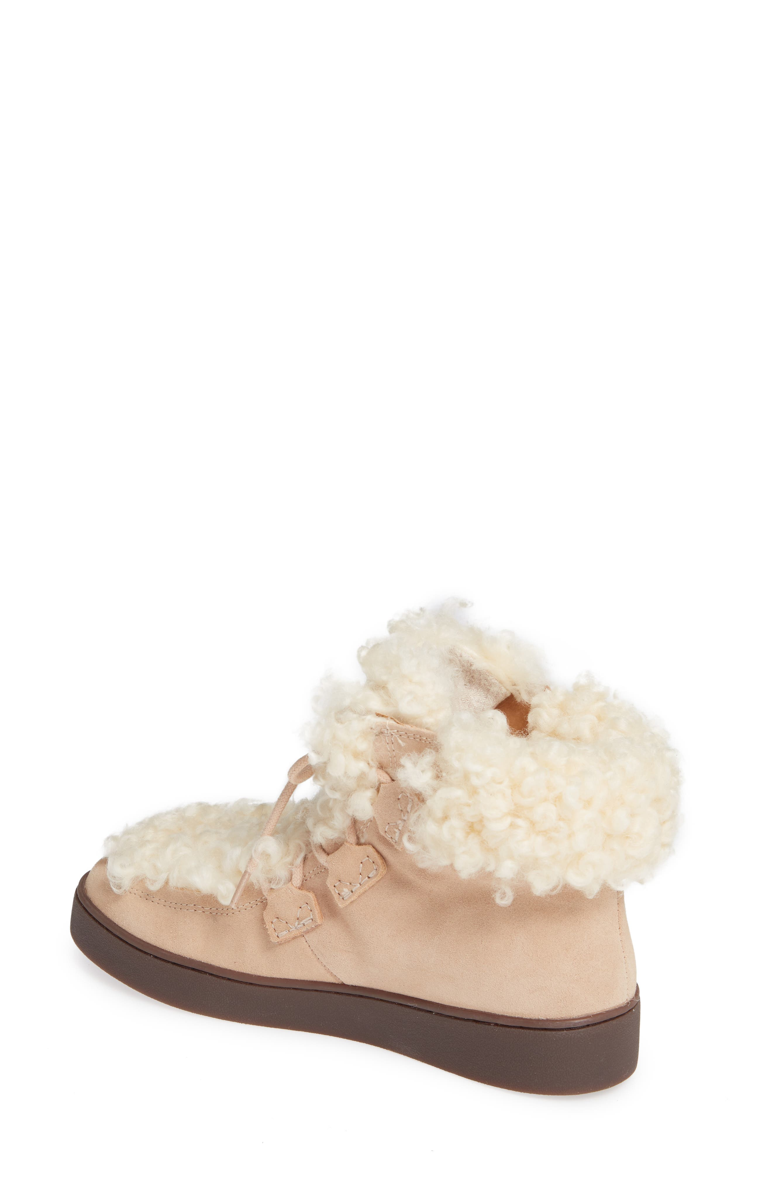 Oak Genuine Shearling Cuff Sneaker Bootie,                             Alternate thumbnail 2, color,                             SAND SUEDE