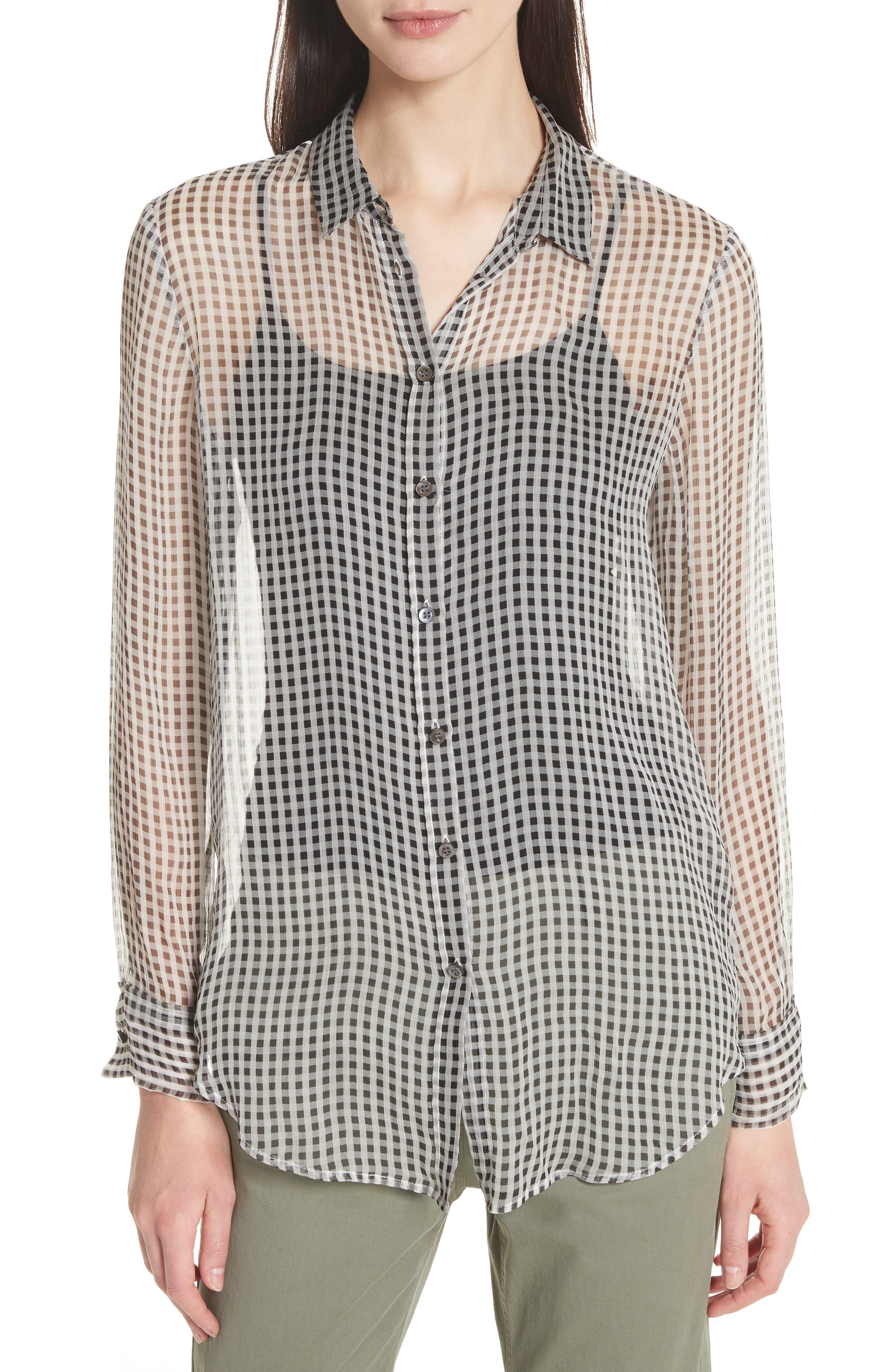Check Silk Shirt,                         Main,                         color,