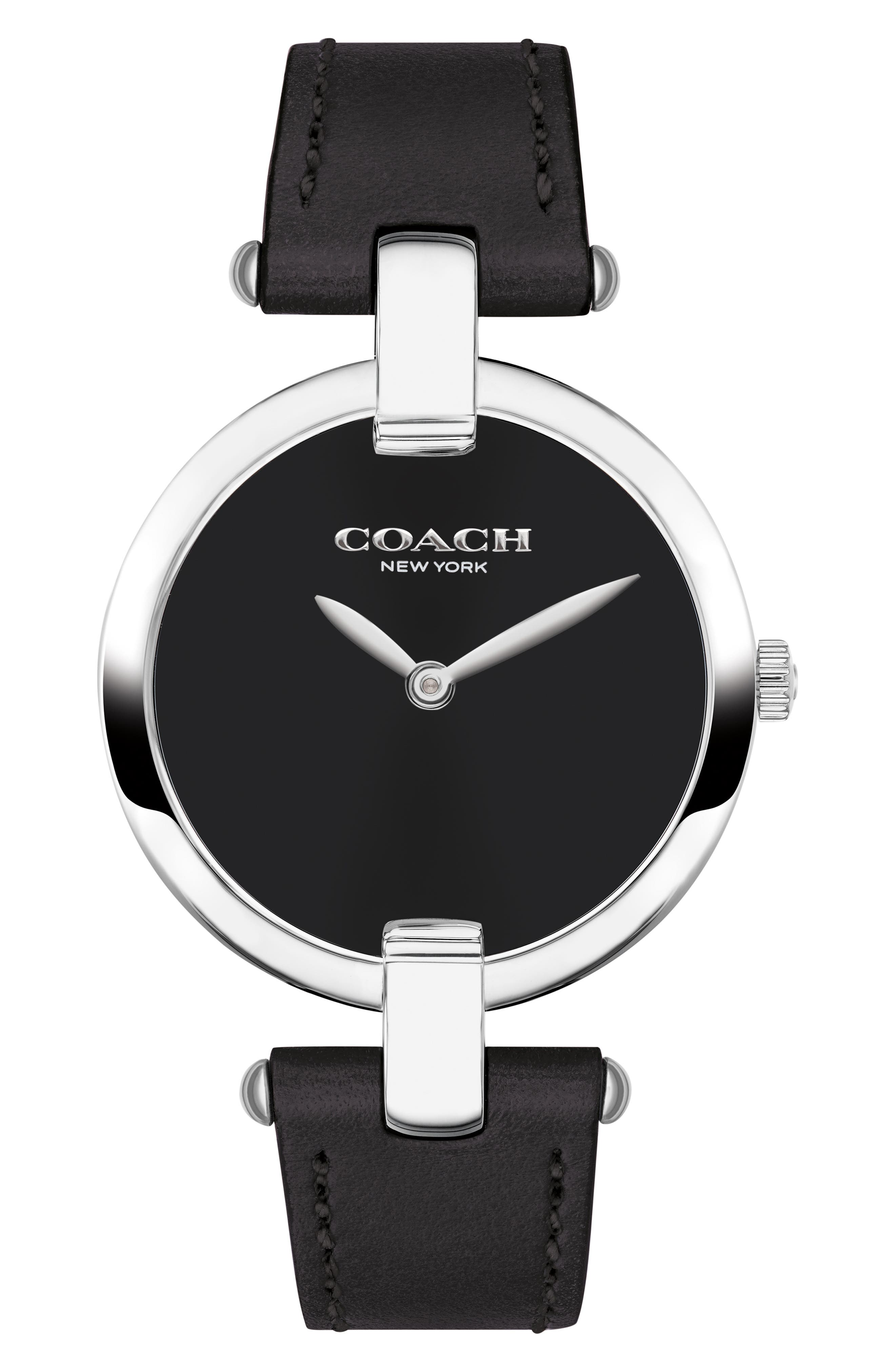 Chrystie Leather Strap Watch, 32mm,                         Main,                         color, 001