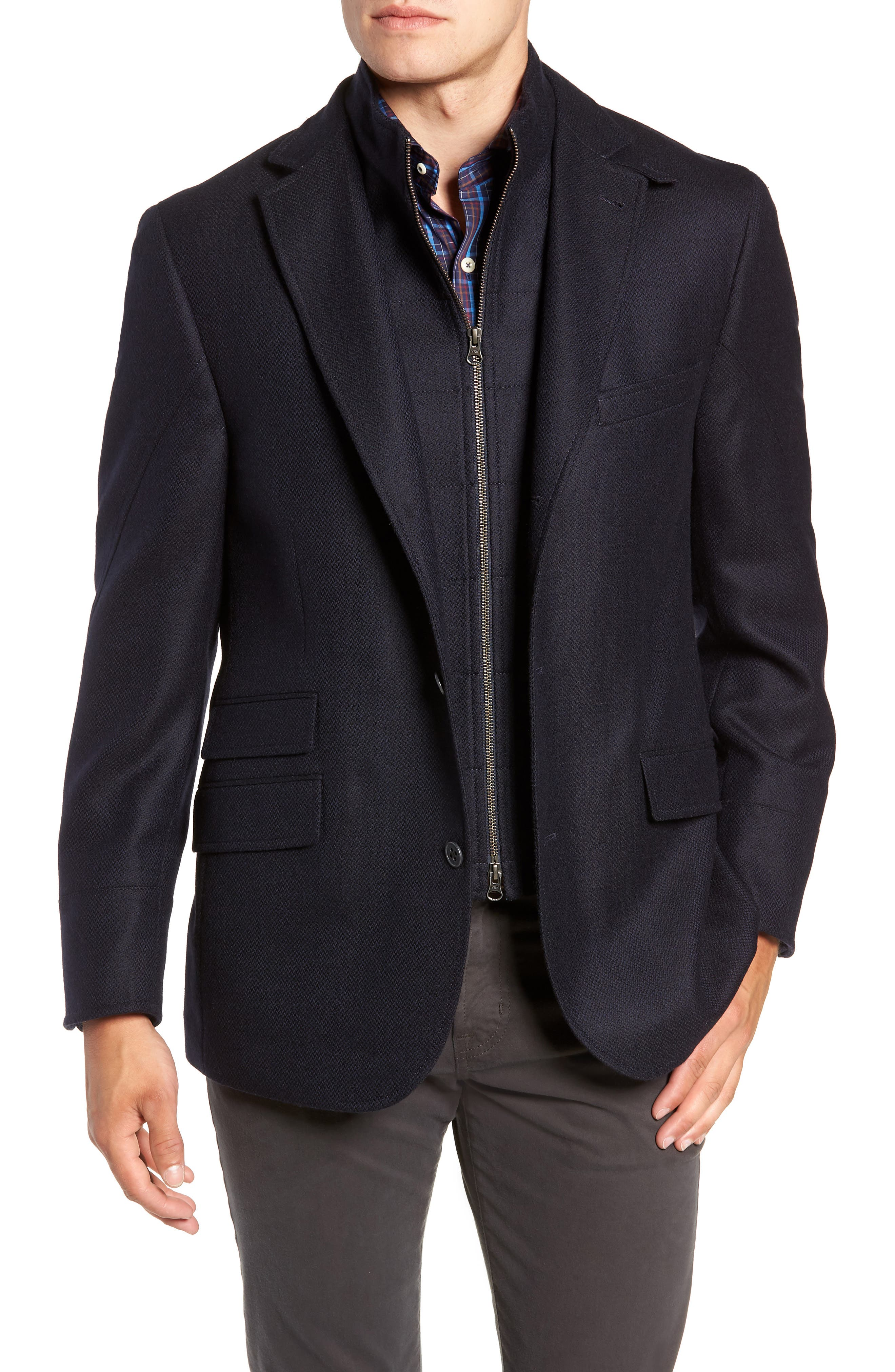 Regular Fit Wool & Cashmere Hybrid Sport Coat,                             Main thumbnail 1, color,                             NAVY