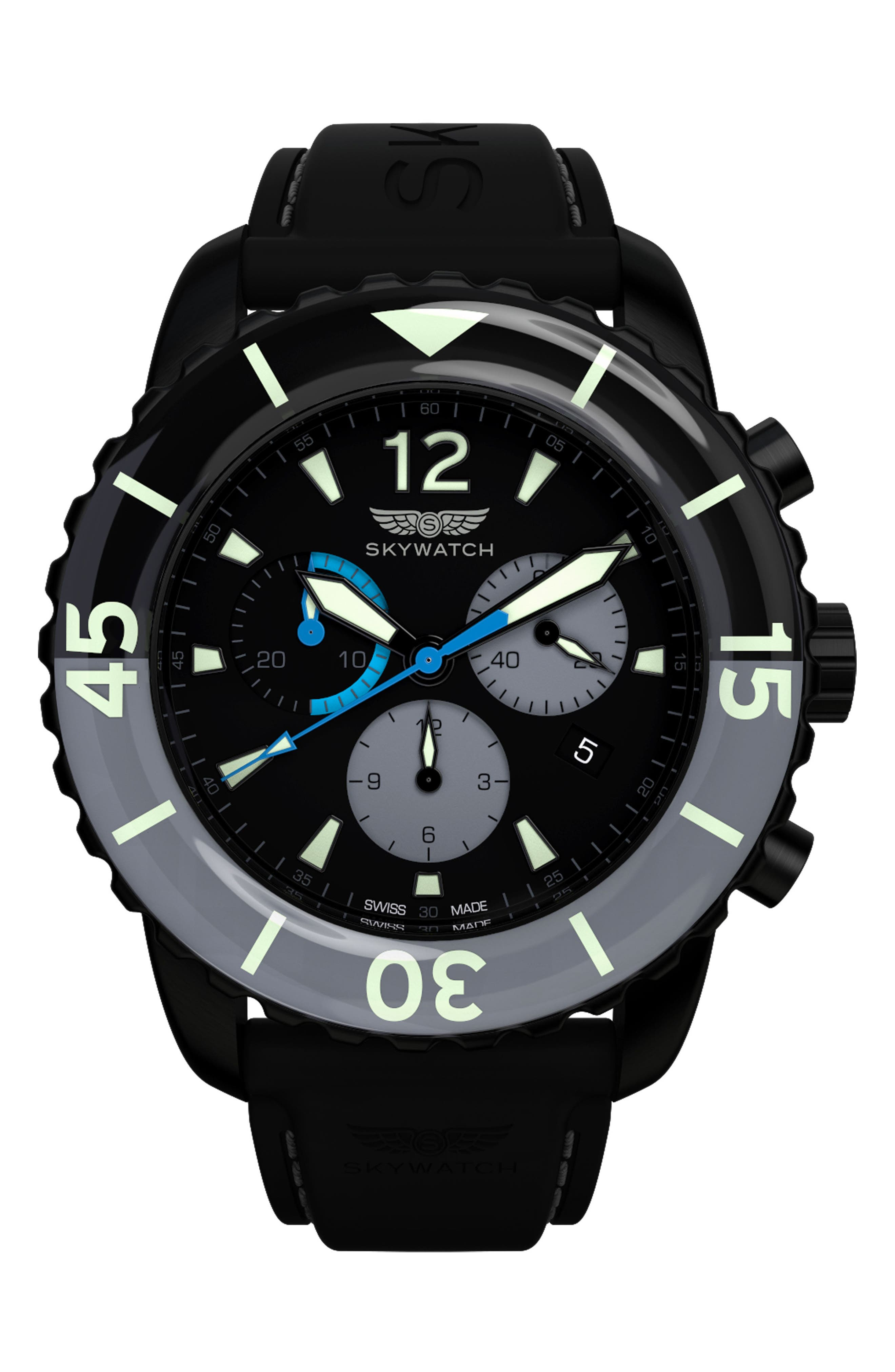 Classic Chronograph Silicone Strap Watch, 44mm,                         Main,                         color, 001