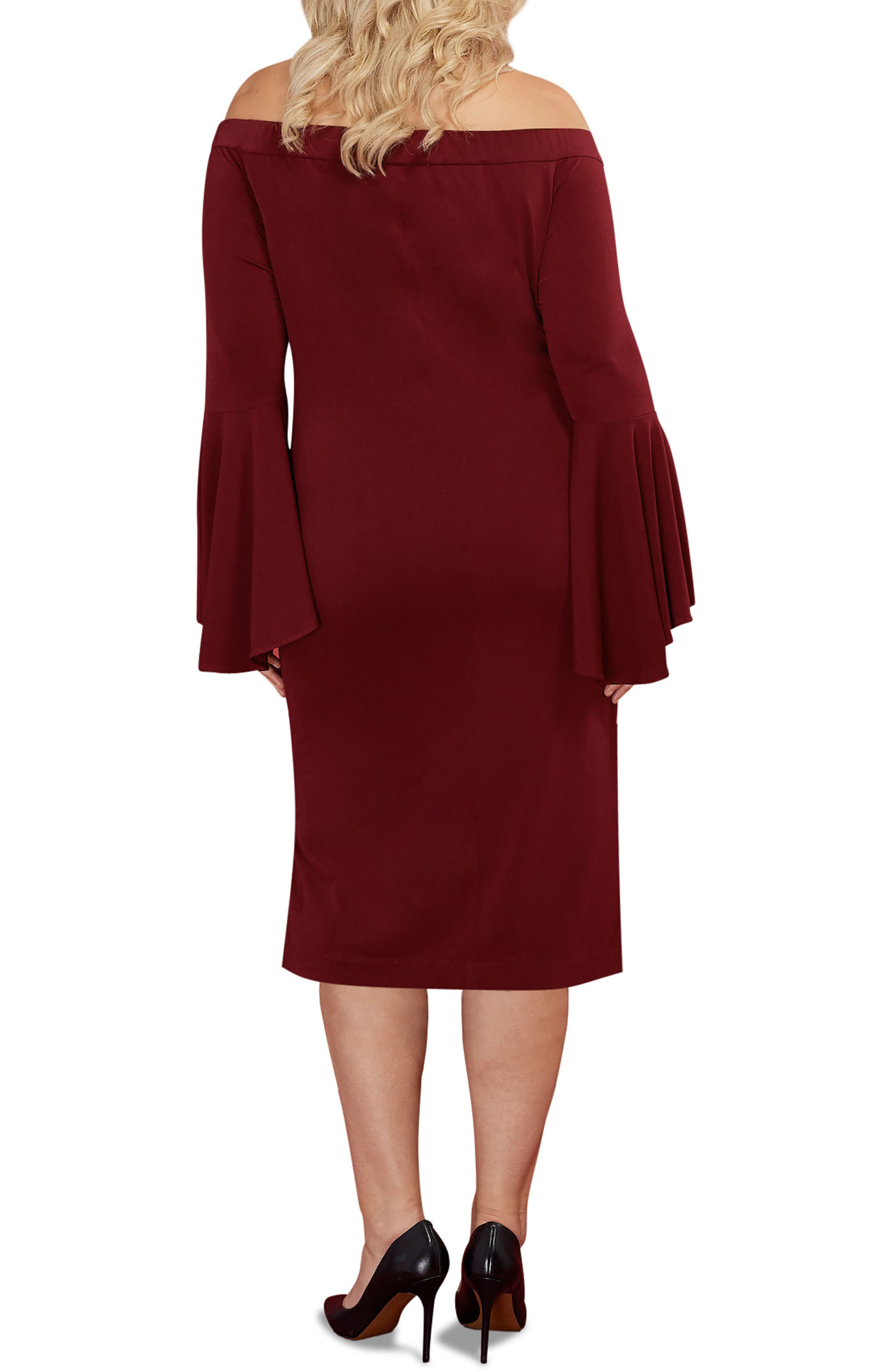 Off the Shoulder Bell Sleeve Sheath Dress,                             Alternate thumbnail 2, color,