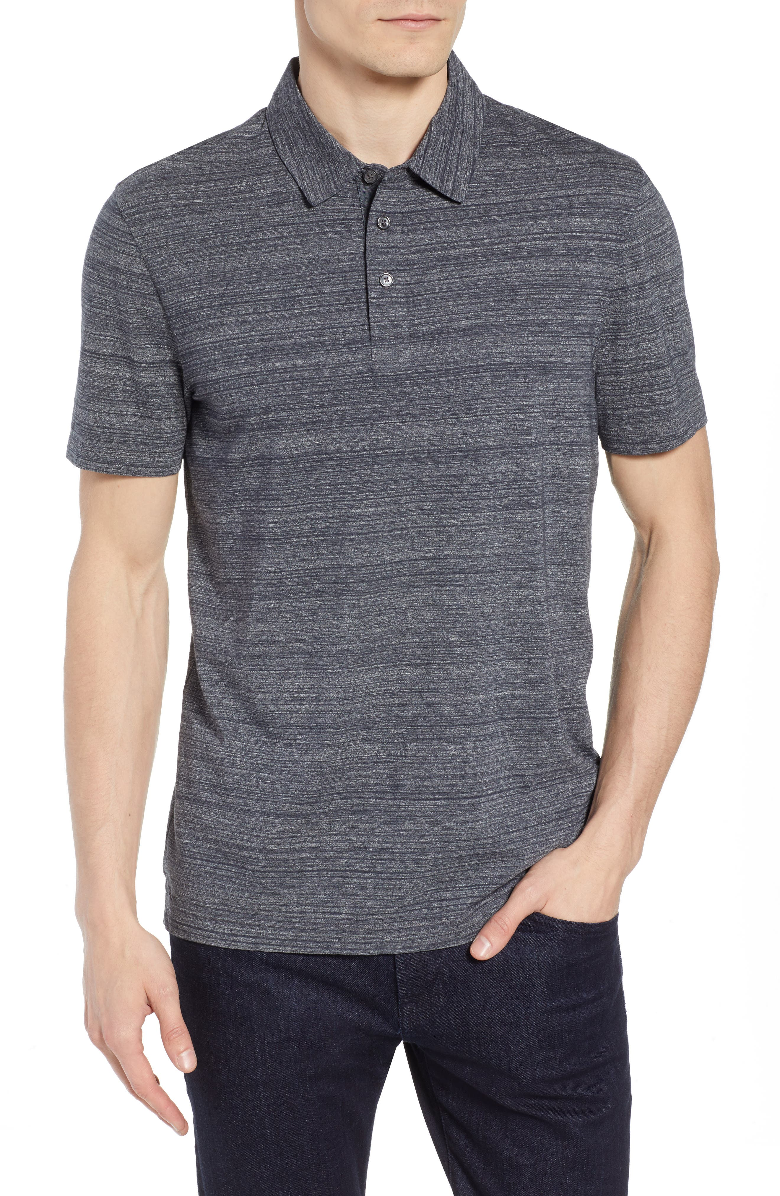 Place Slim Fit Space Dyed Polo,                             Main thumbnail 1, color,                             DARK GREY