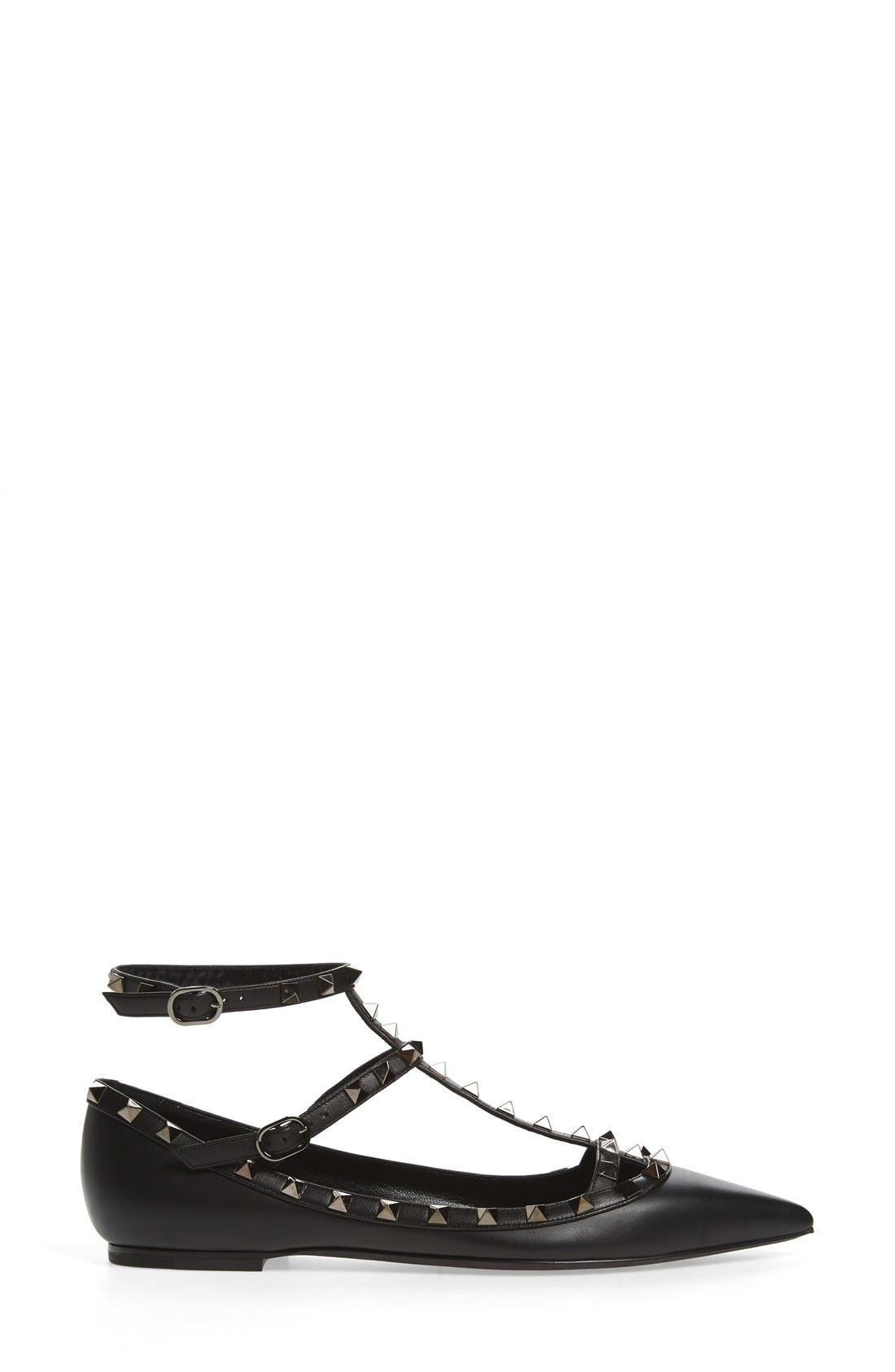 'Rockstud' Double Ankle Strap Pointy Toe Flat,                             Alternate thumbnail 4, color,                             BLACK LEATHER