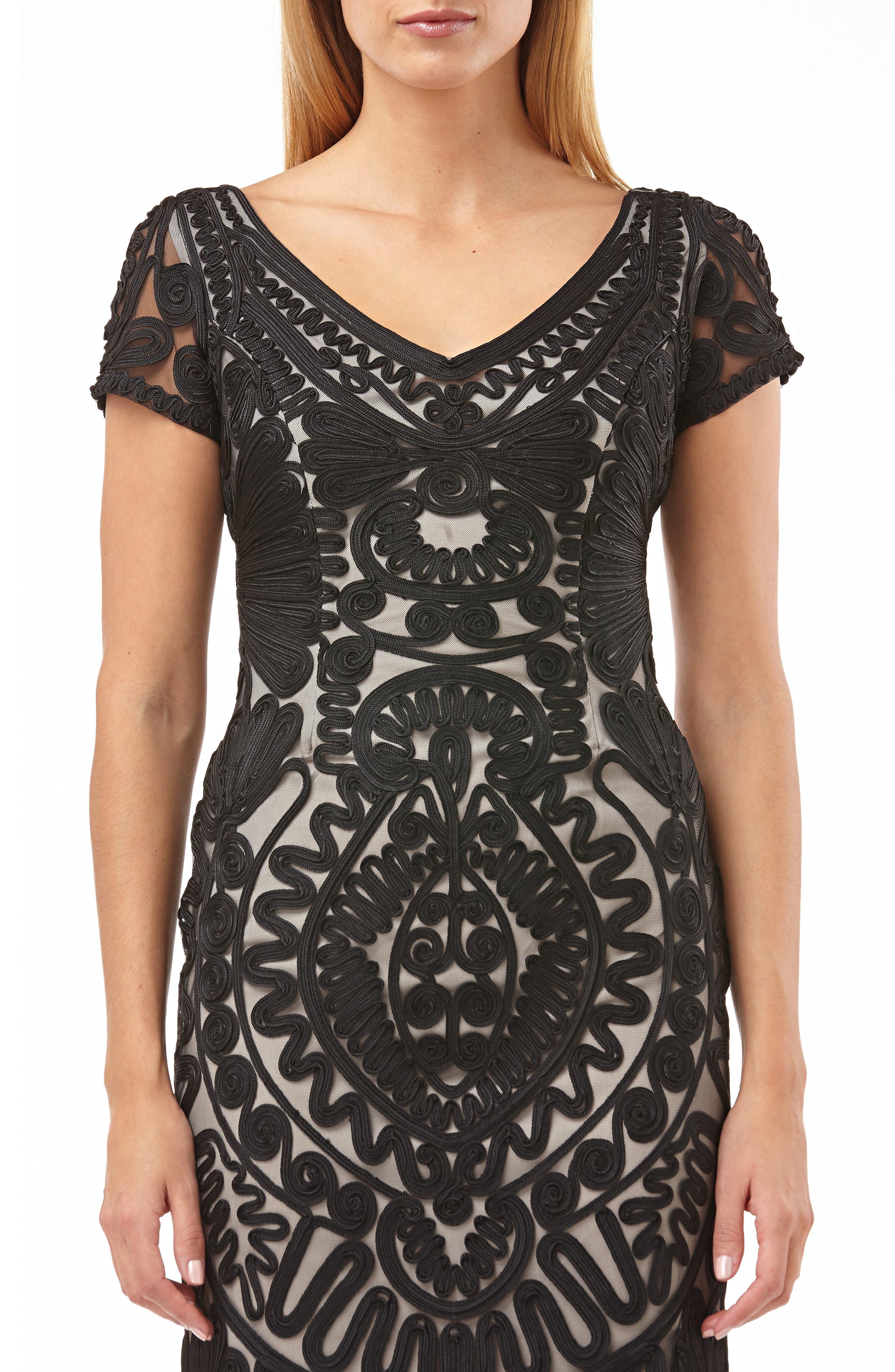 Short Sleeve Soutache Mesh Cocktail Dress,                             Alternate thumbnail 4, color,                             BLACK/ VANILLA