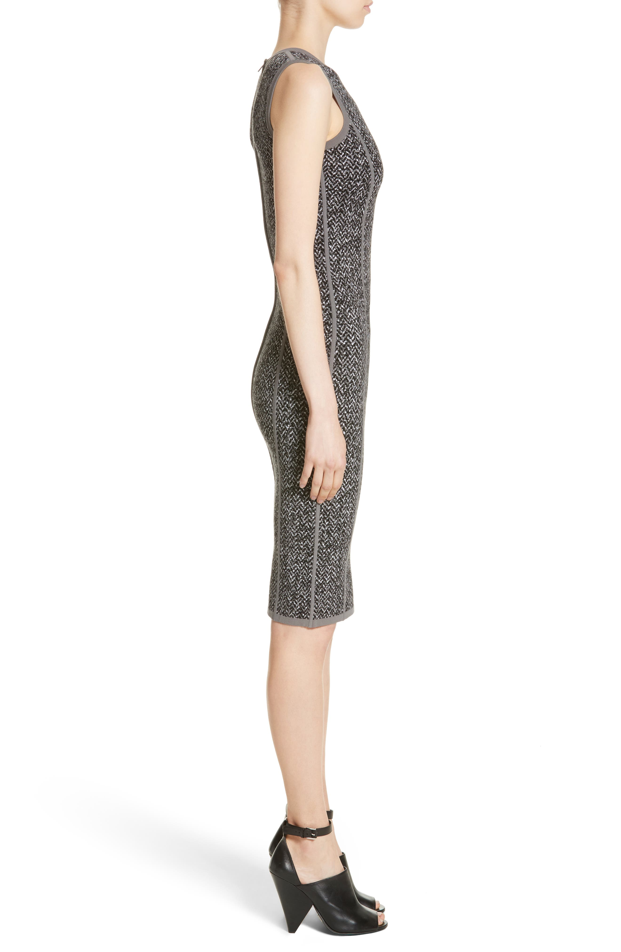 Stretch Tweed Jacquard Sheath Dress,                             Alternate thumbnail 3, color,                             033