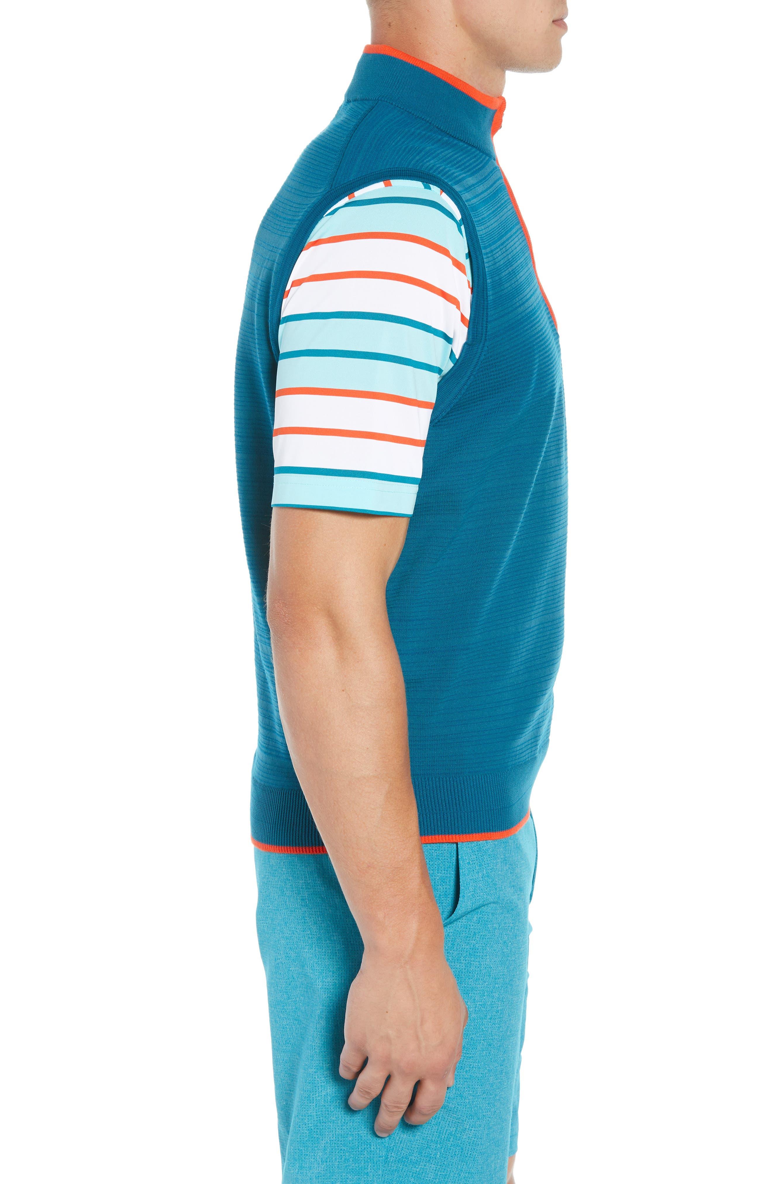 Impact Half Zip Sweater Vest,                             Alternate thumbnail 3, color,                             AQUATIC