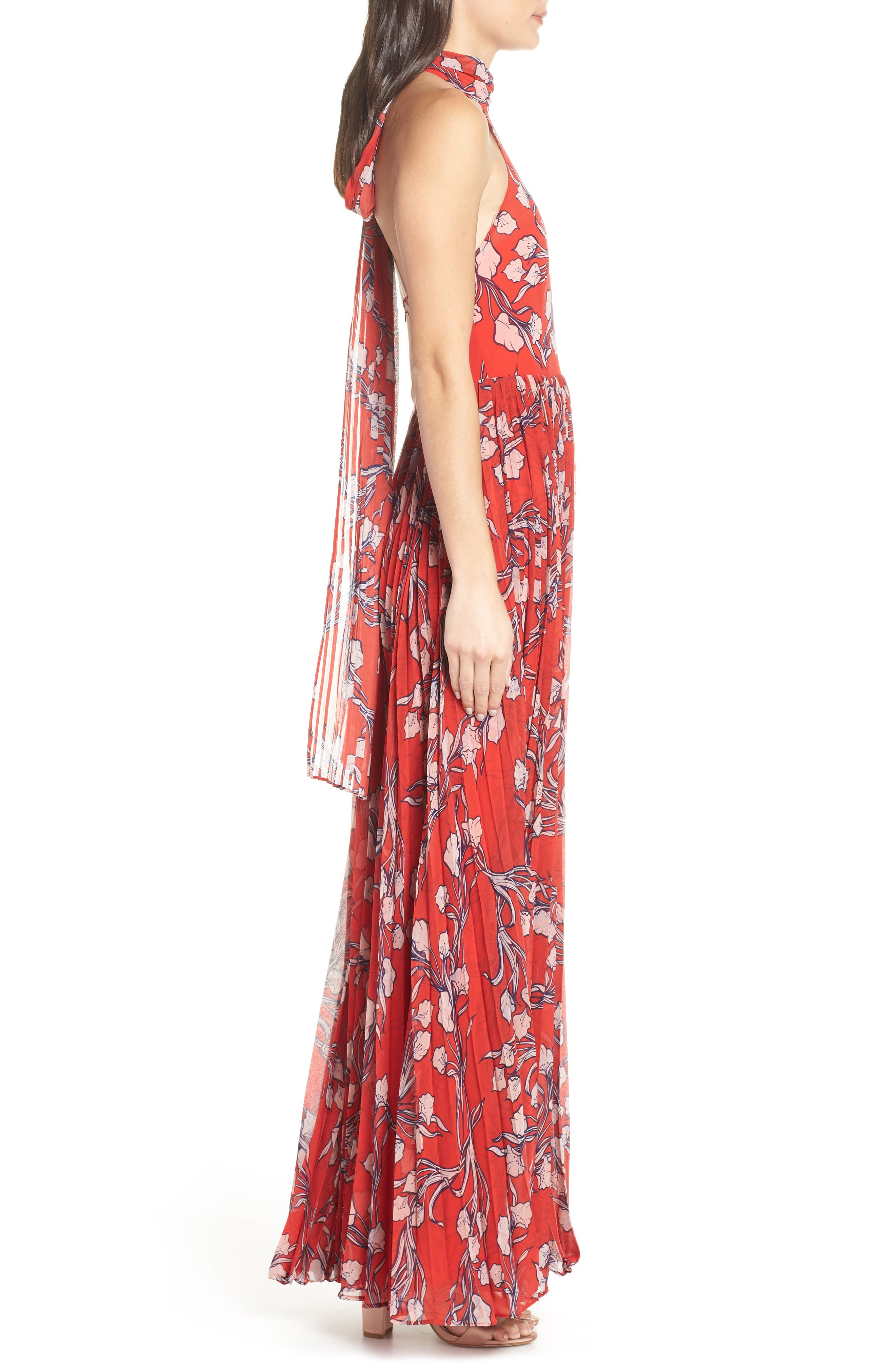 The Zora Chiffon Evening Dress,                             Alternate thumbnail 3, color,                             NOUVEAU FLORAL SUNSET