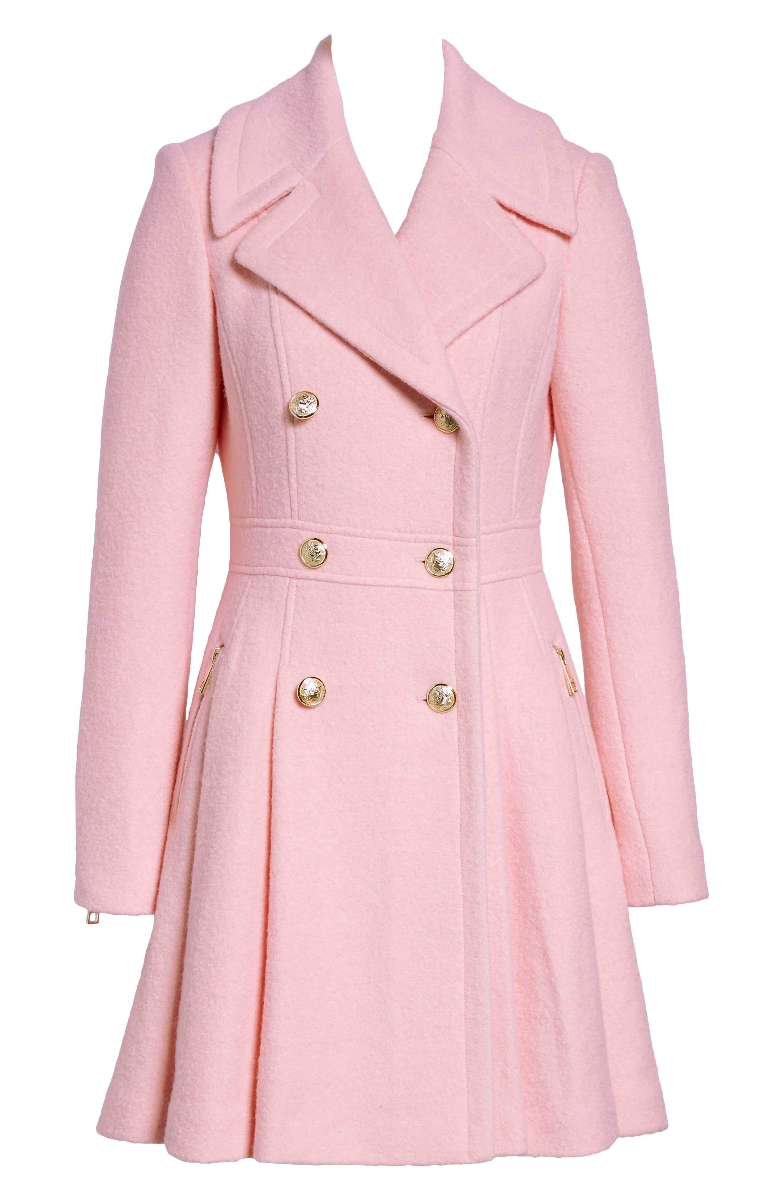 Double Breasted Wool Blend Coat,                             Alternate thumbnail 6, color,
