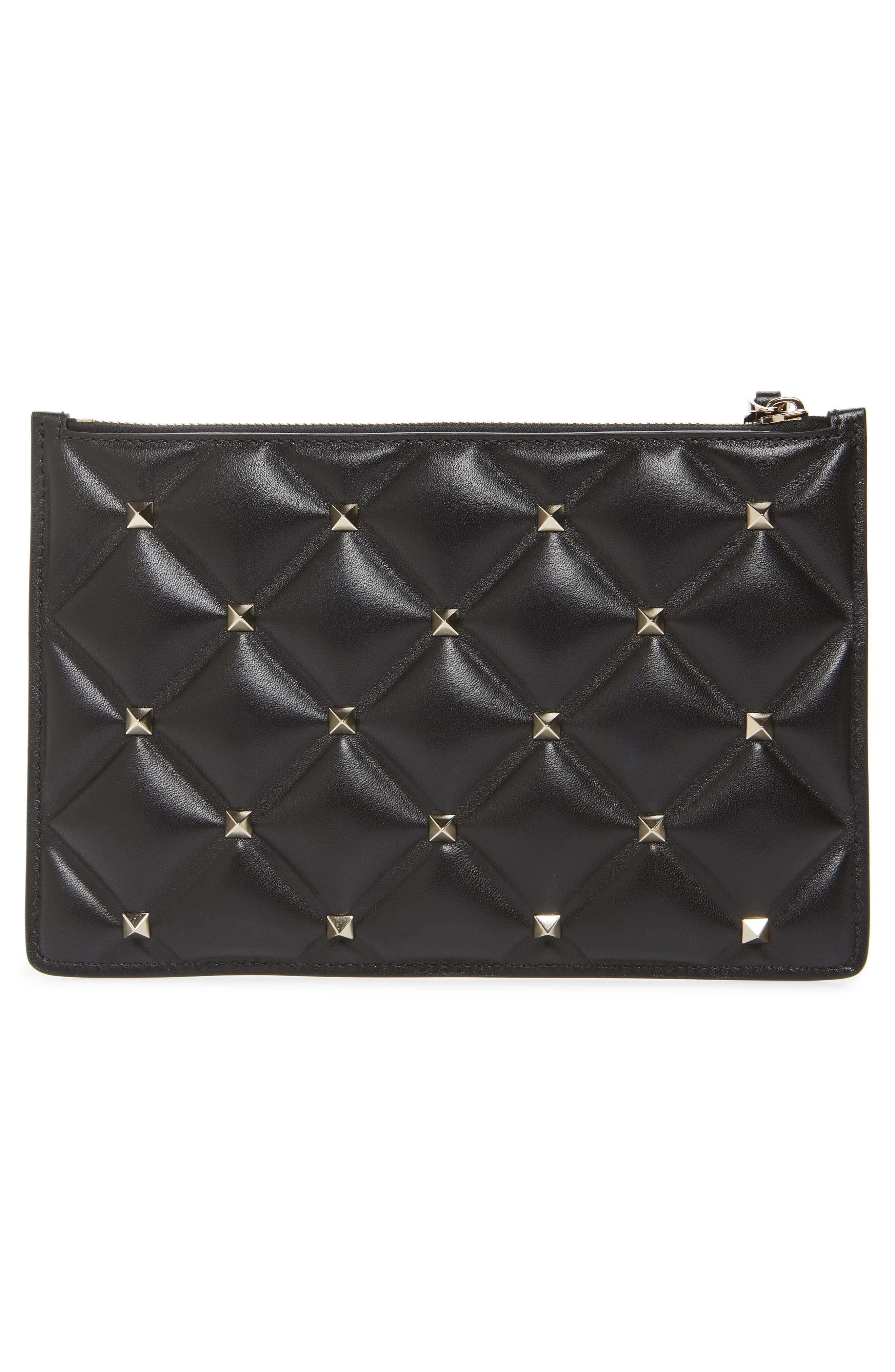Medium Candystud Leather Pouch,                             Alternate thumbnail 3, color,                             NERO