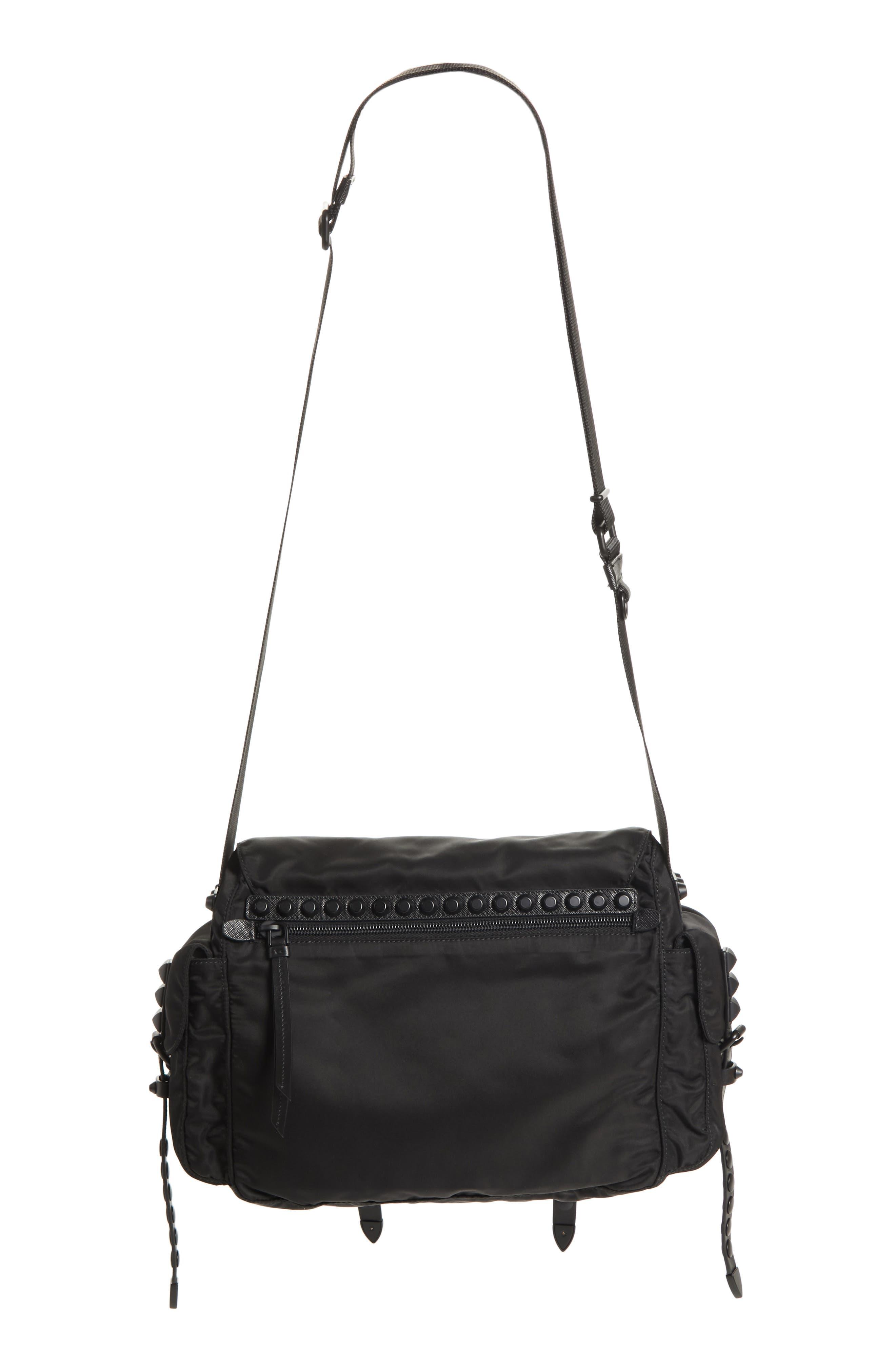 Studded Nylon Messenger Bag,                             Alternate thumbnail 4, color,                             002