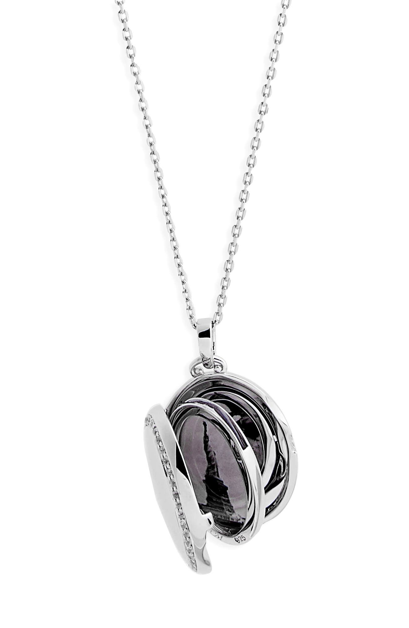 Four Image White Sapphire Locket Necklace,                             Alternate thumbnail 4, color,                             STERLING SILVER