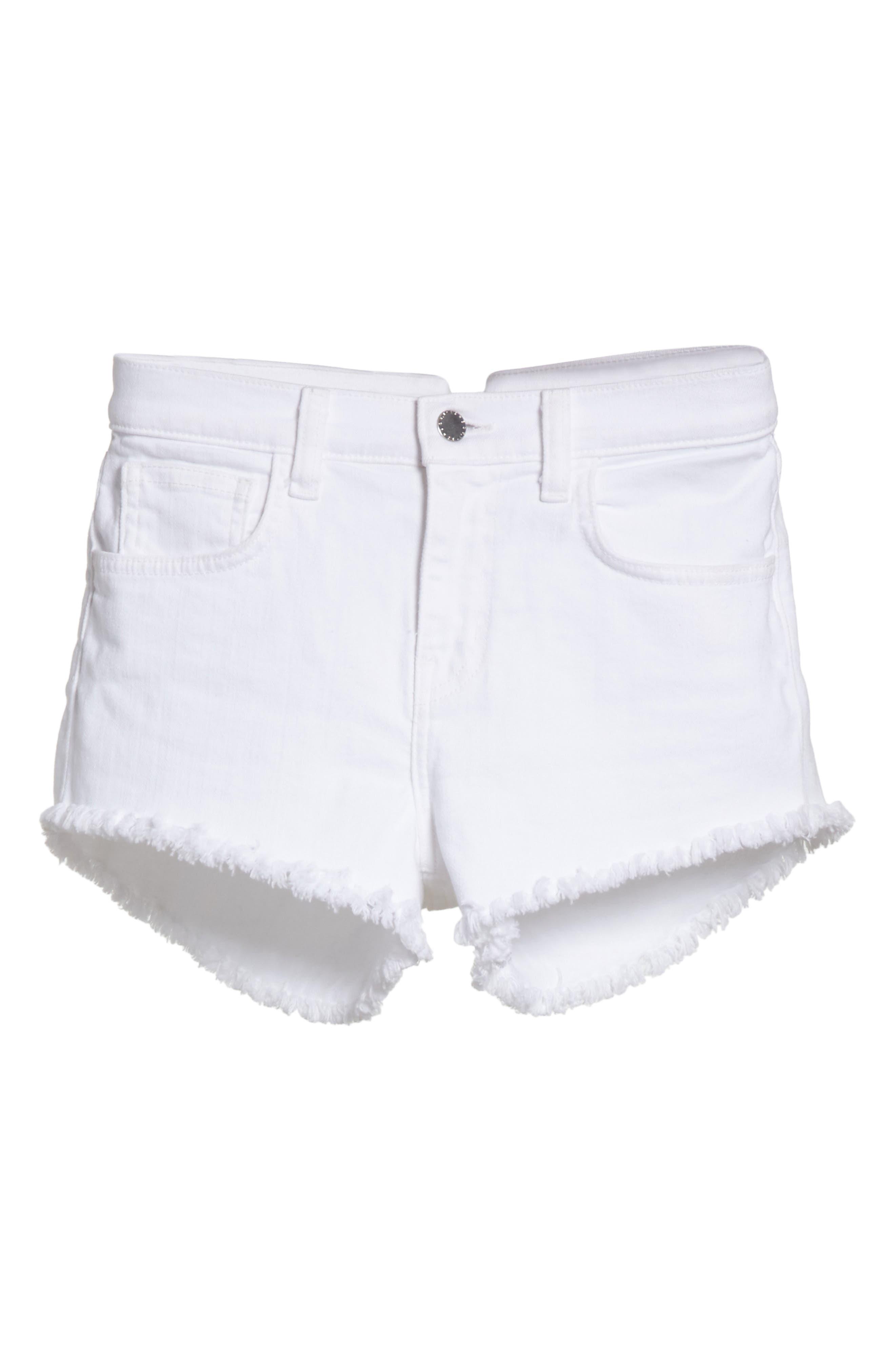 Zoe Cutoff Denim Shorts,                             Alternate thumbnail 6, color,                             100