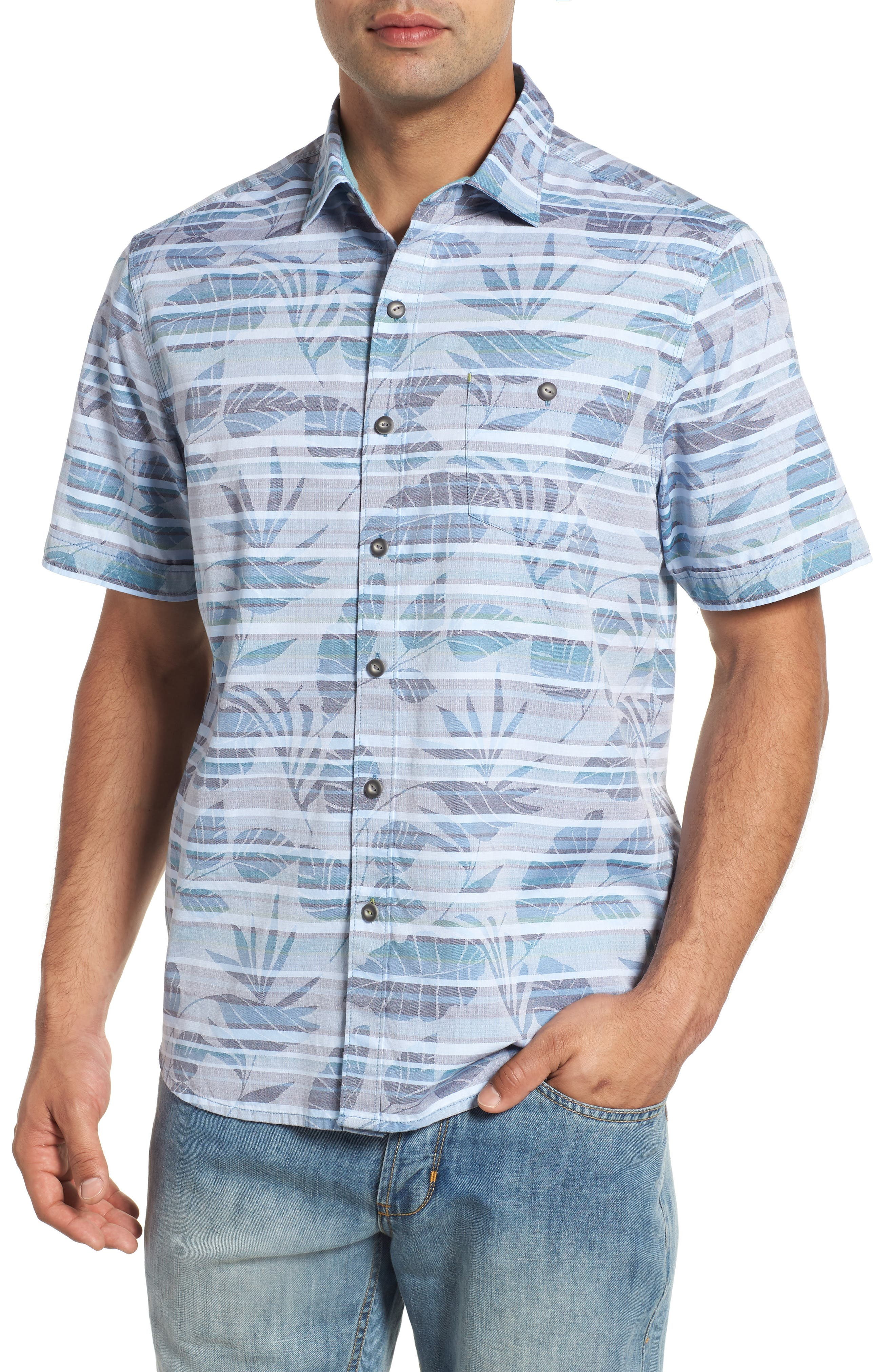 Playa of Paradise Regular Fit Camp Shirt,                             Main thumbnail 1, color,                             SEAGROVE