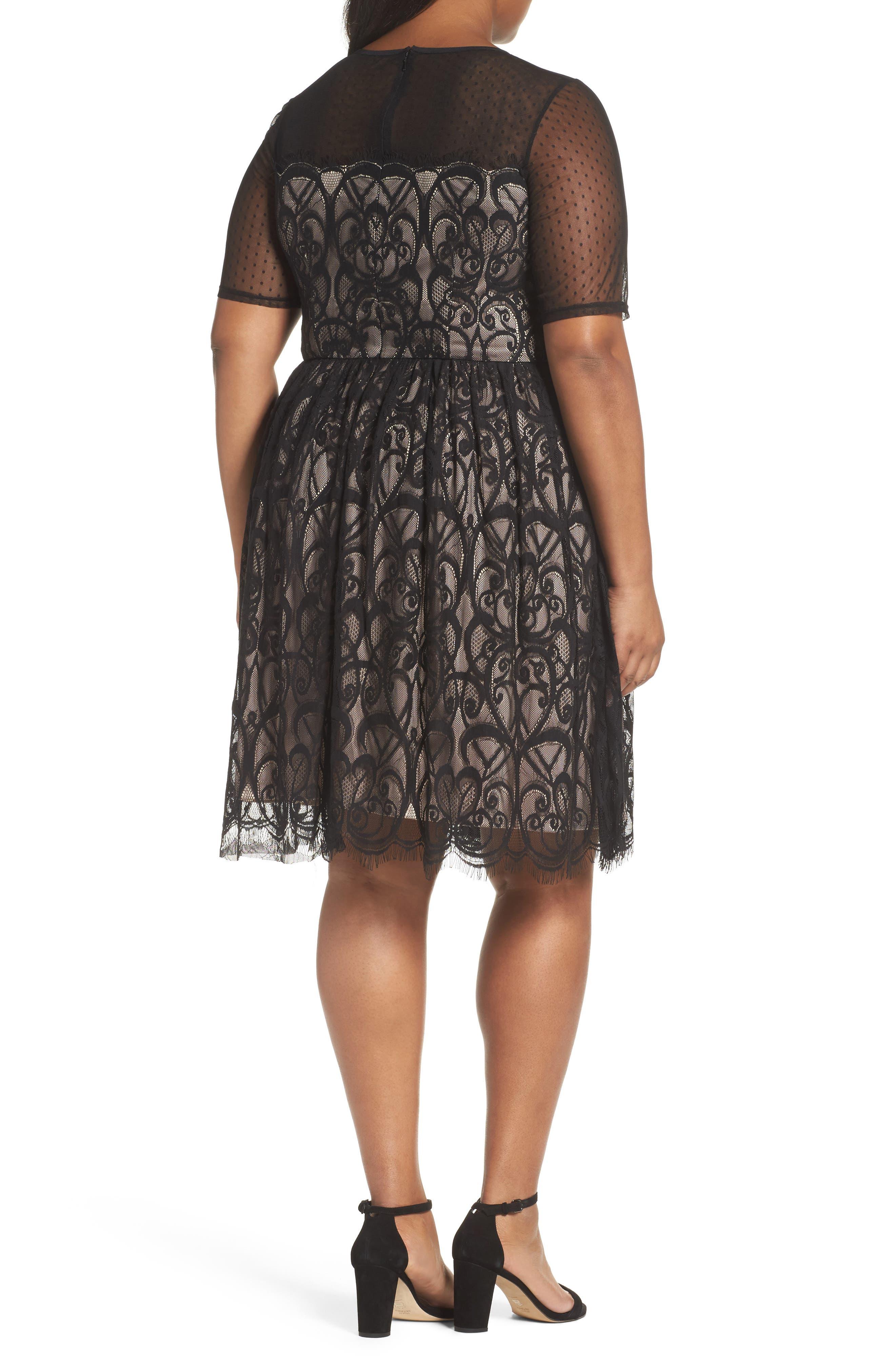 Illusion Lace Fit & Flare Dress,                             Alternate thumbnail 2, color,                             BLACK