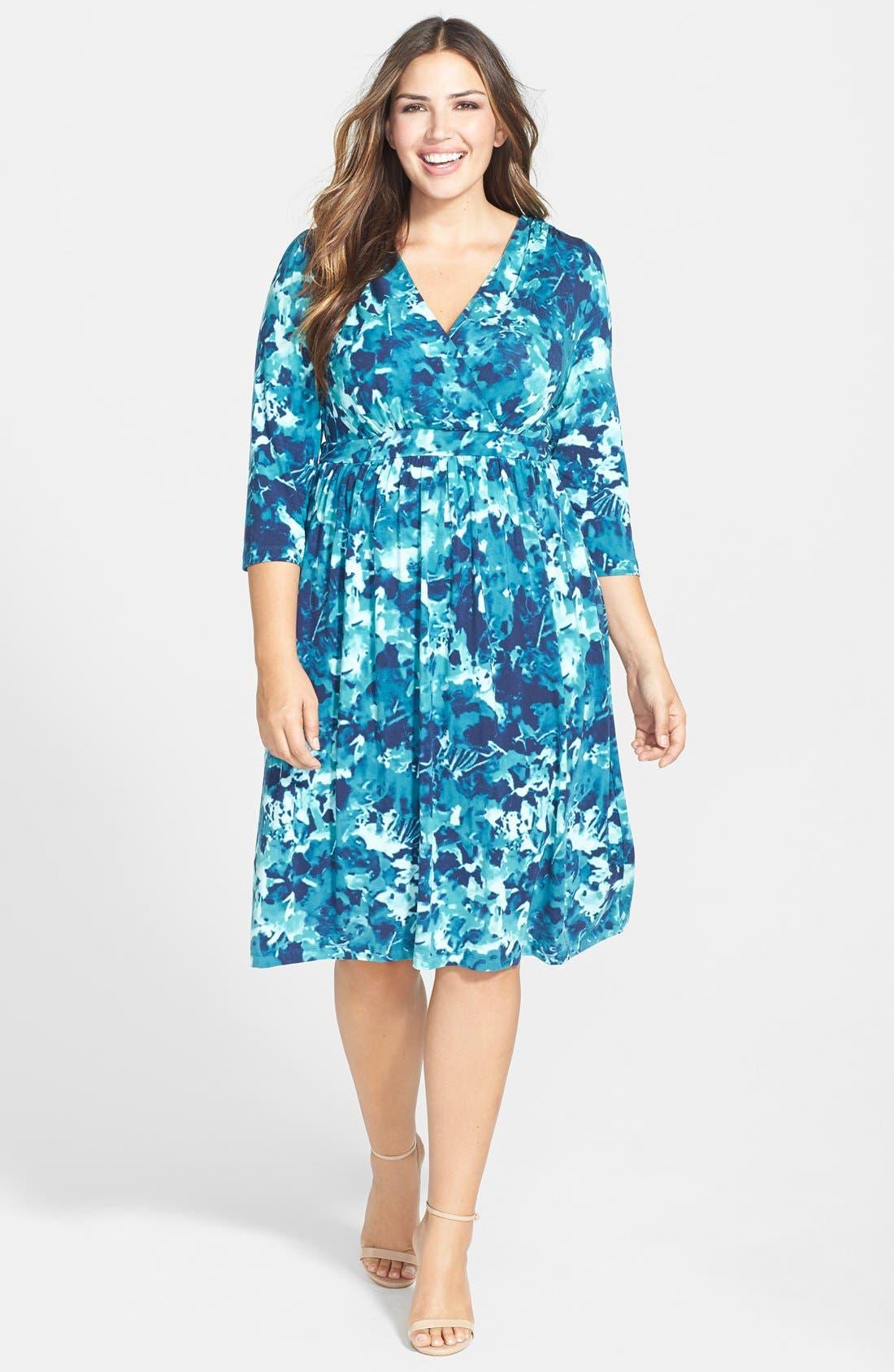 Plus Size Tart Print Surplice Bodice Dress