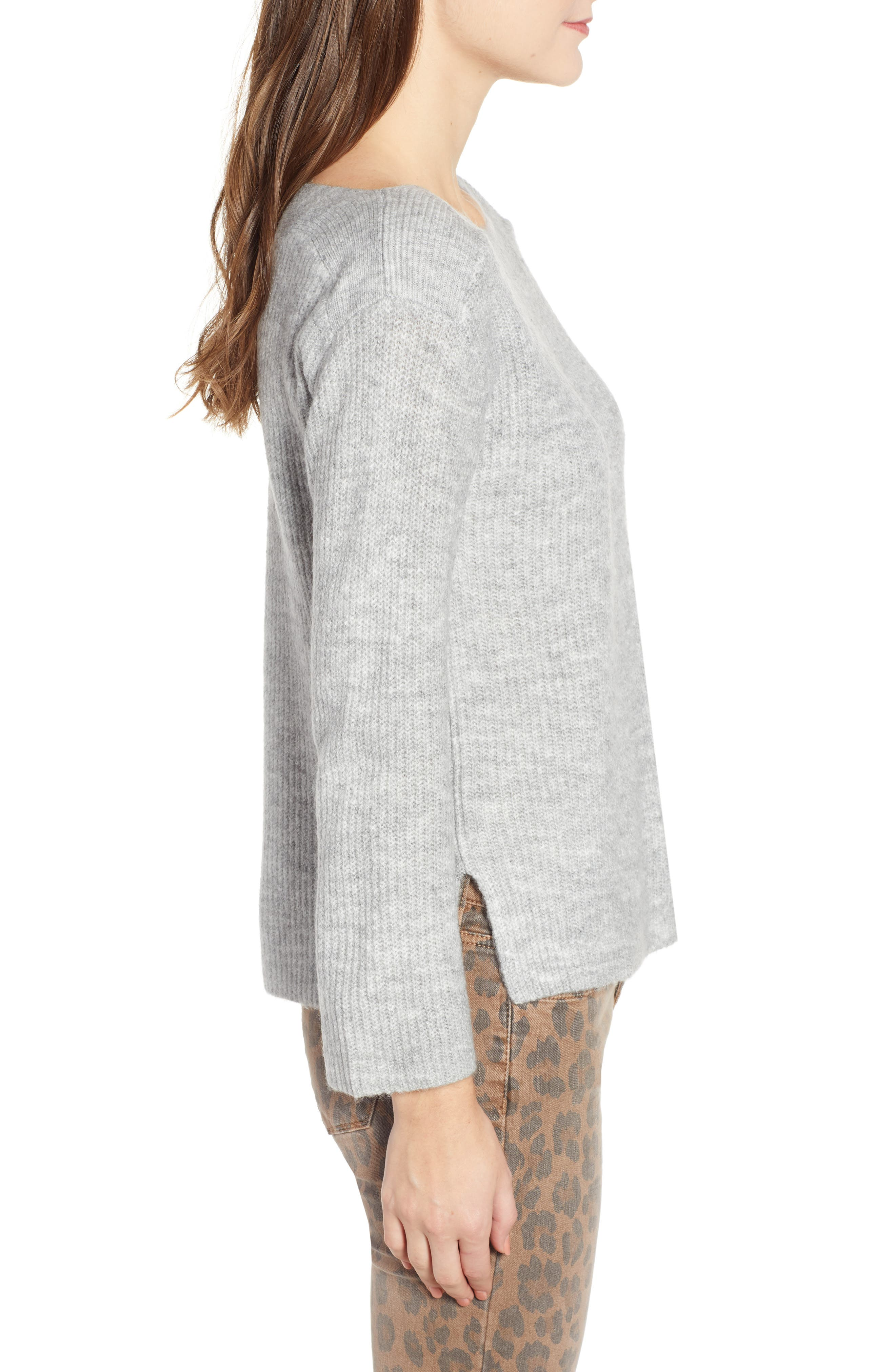 Cozy Femme Pullover Sweater,                             Alternate thumbnail 3, color,                             GREY PEARL HEATHER