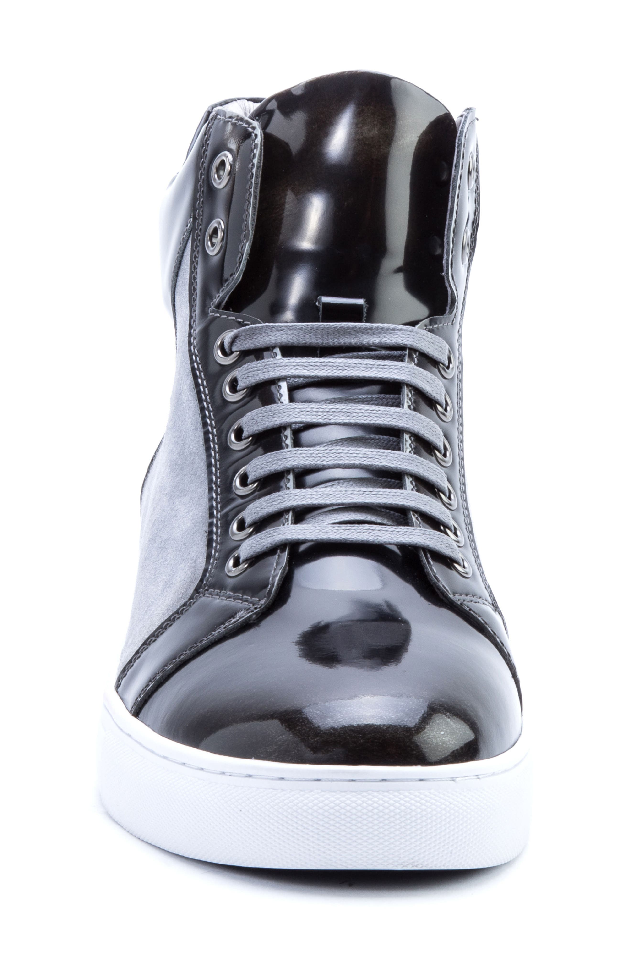 Douglas High Top Sneaker,                             Alternate thumbnail 4, color,                             BLACK LEATHER