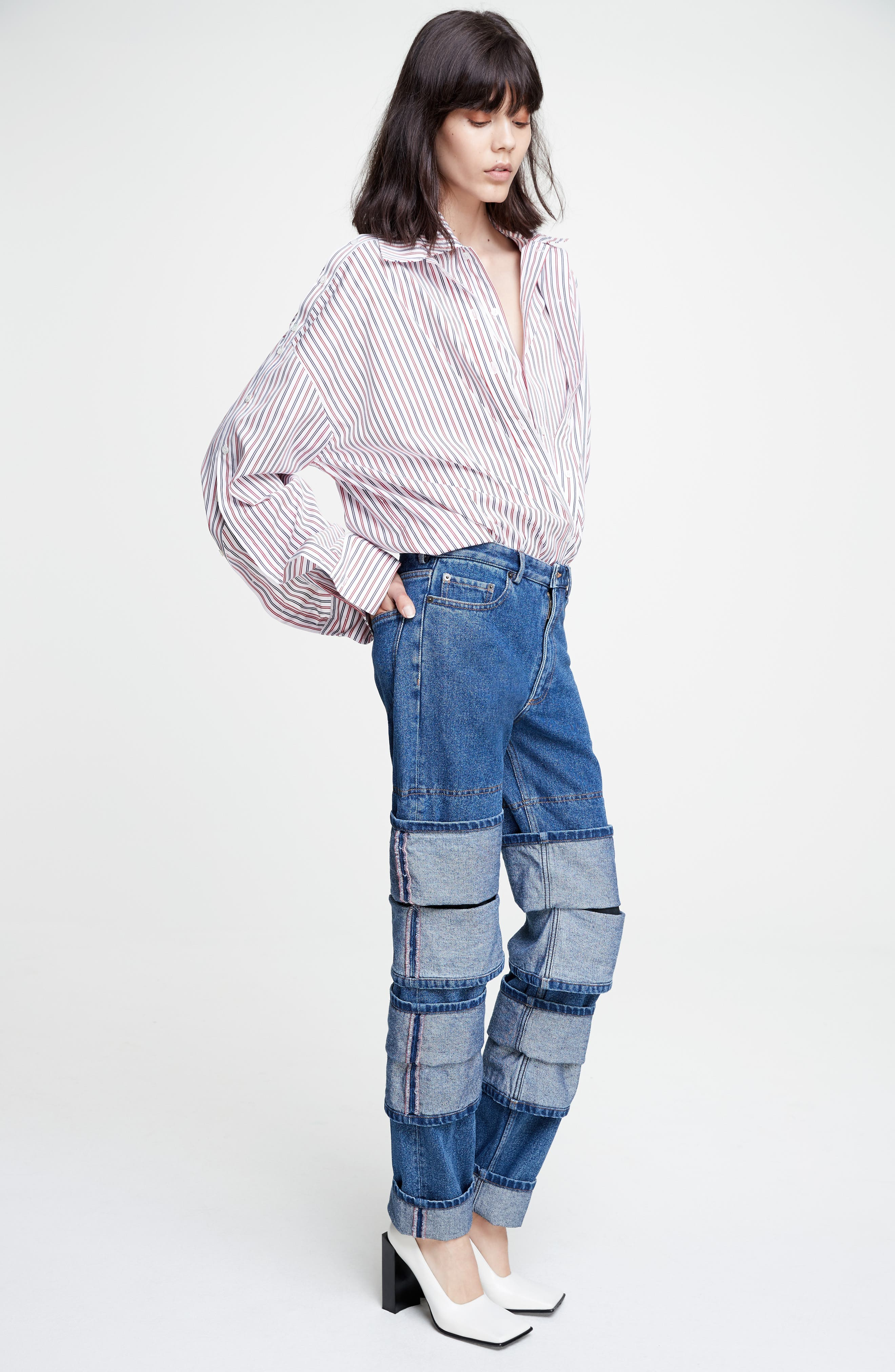 Layered Cuff Jeans,                             Alternate thumbnail 7, color,                             410