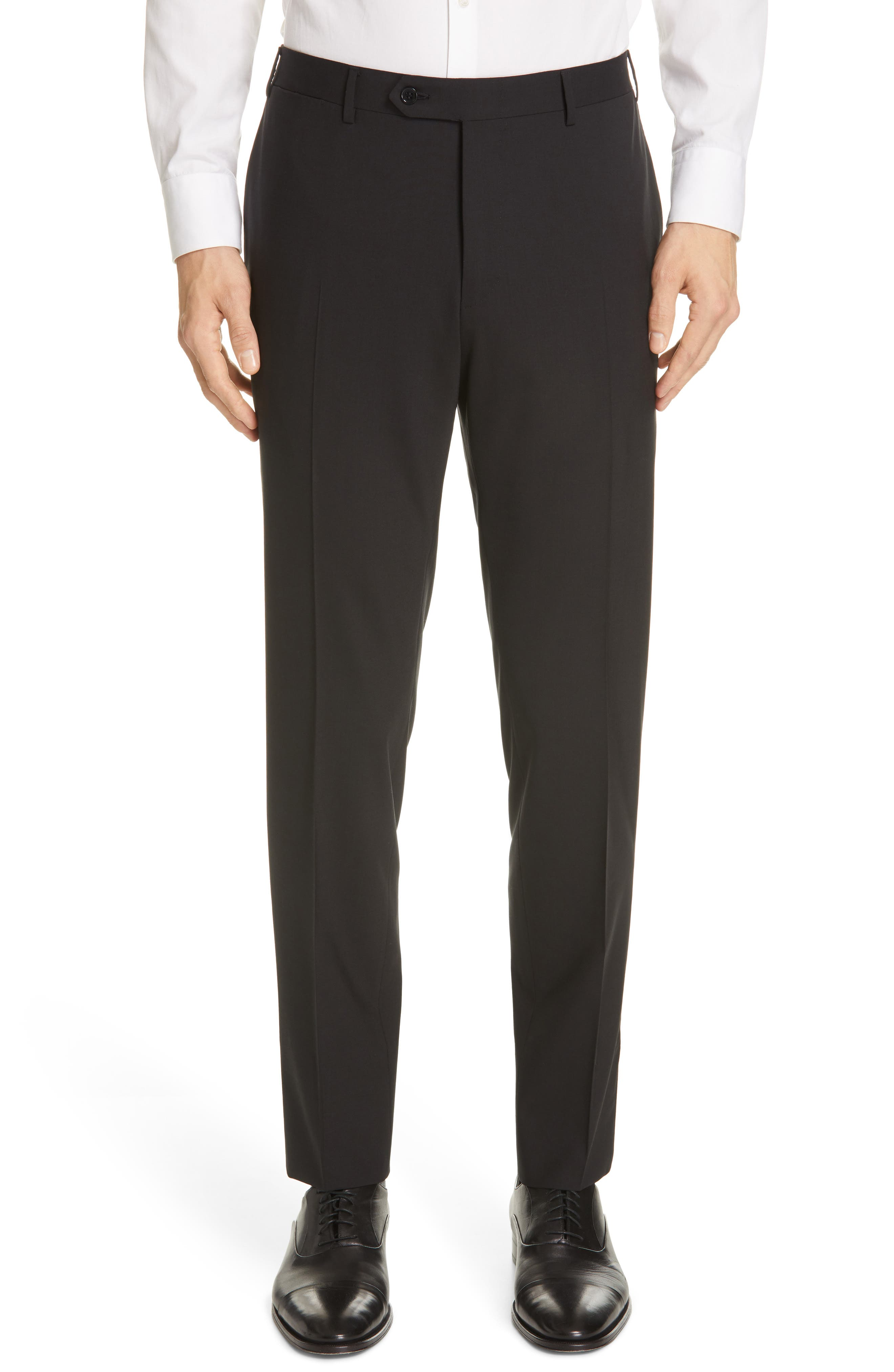 Flat Front Solid Stretch Wool Trousers,                             Main thumbnail 1, color,                             BLACK