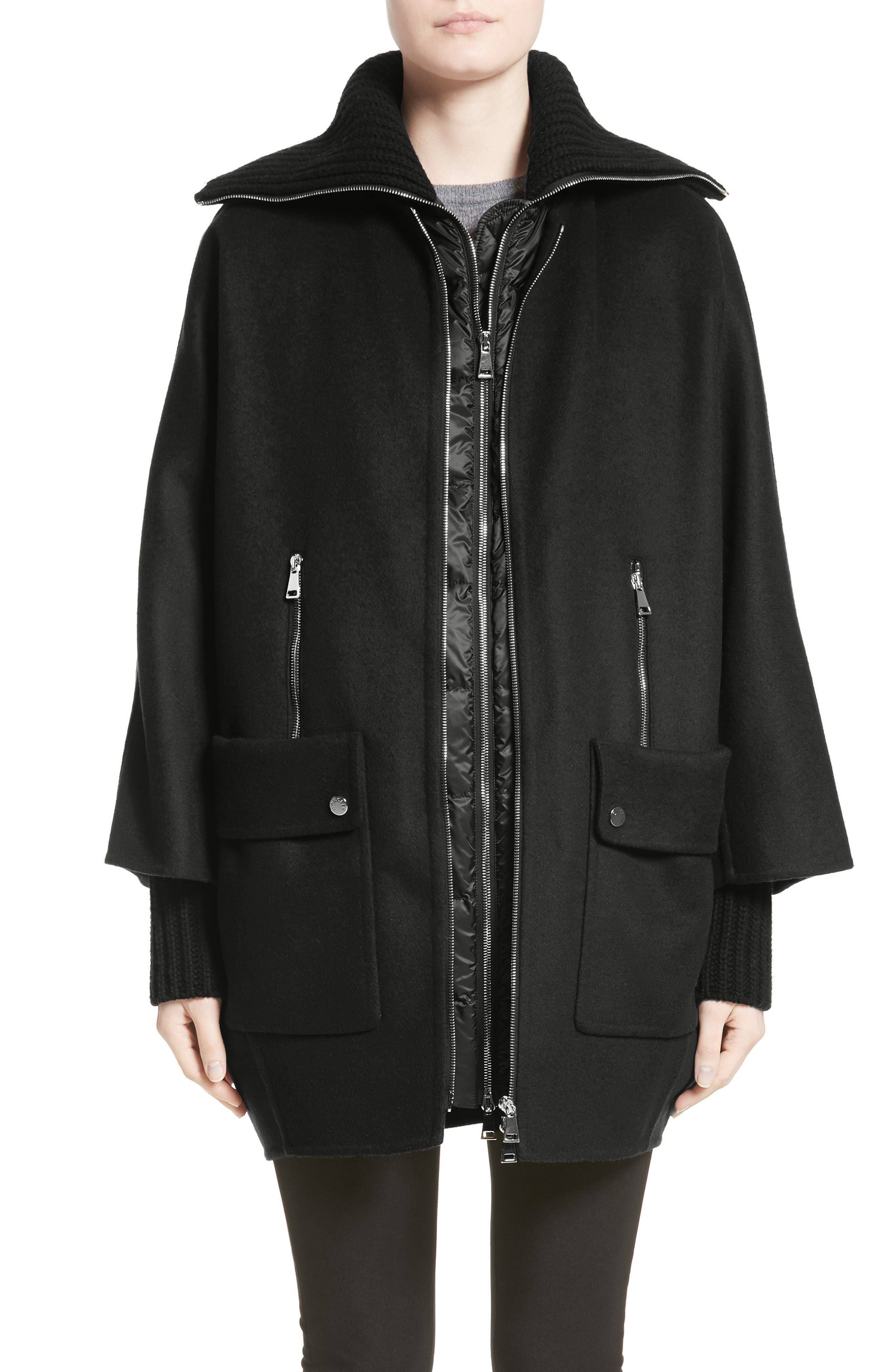 Moncler Acanthus Wool & Cashmere Coat With Removable Down Puffer Layer, Black