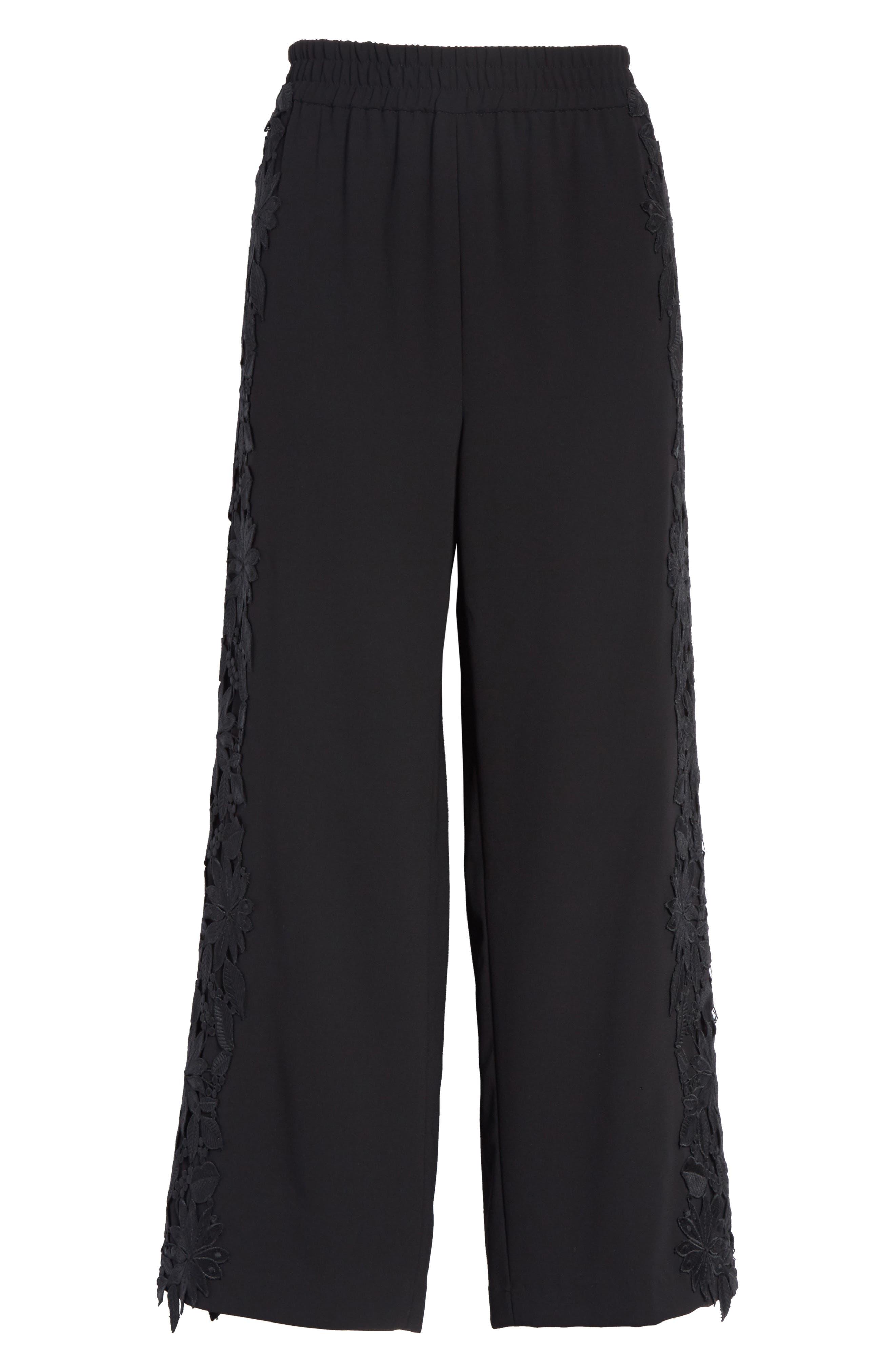Benny Side Lace Crop Pants,                             Alternate thumbnail 7, color,                             001