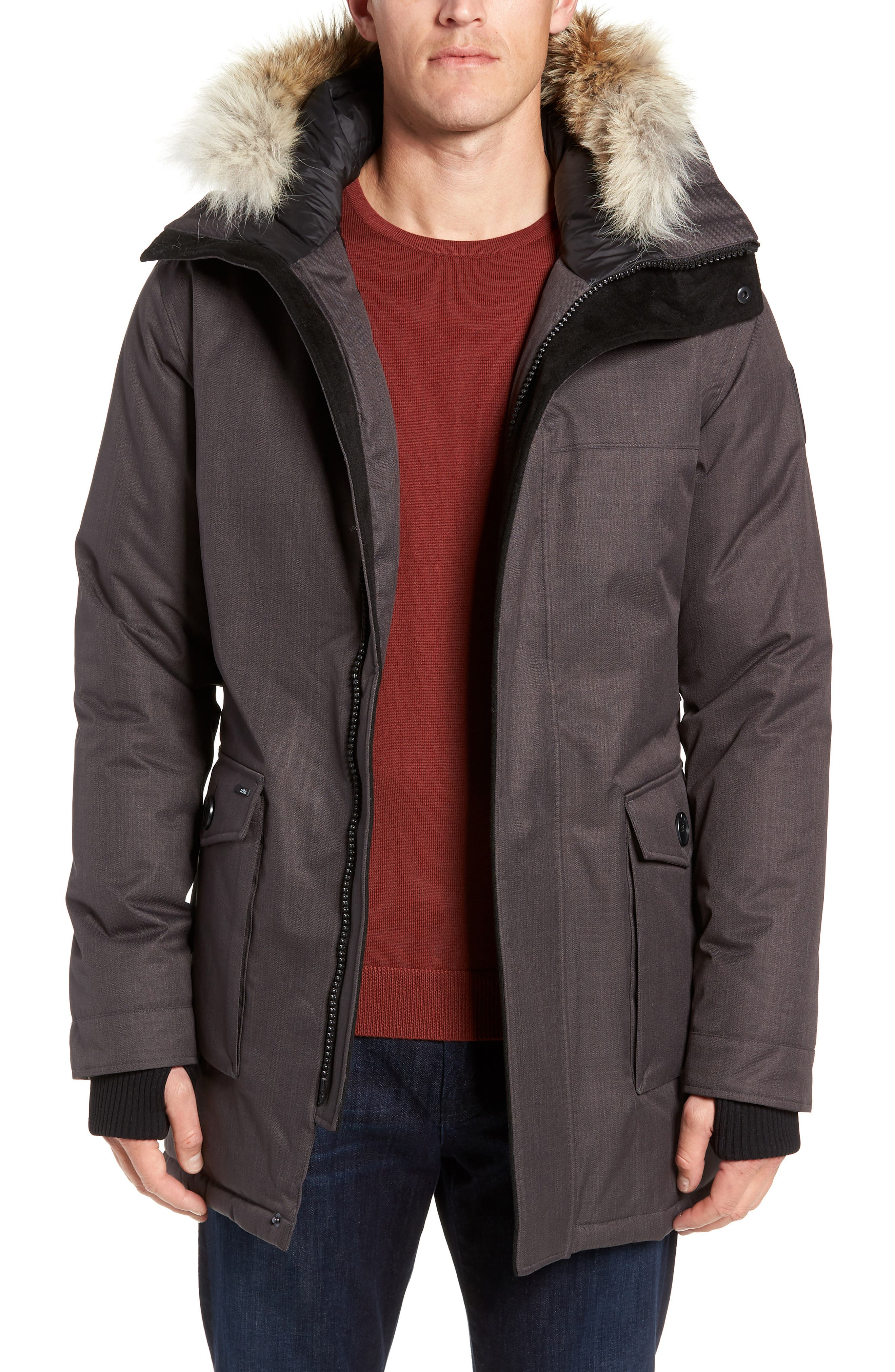 Yves Windproof & Waterproof 650 Fill Power Down Parka with Genuine Coyote Fur Trim,                         Main,                         color, STEEL GREY