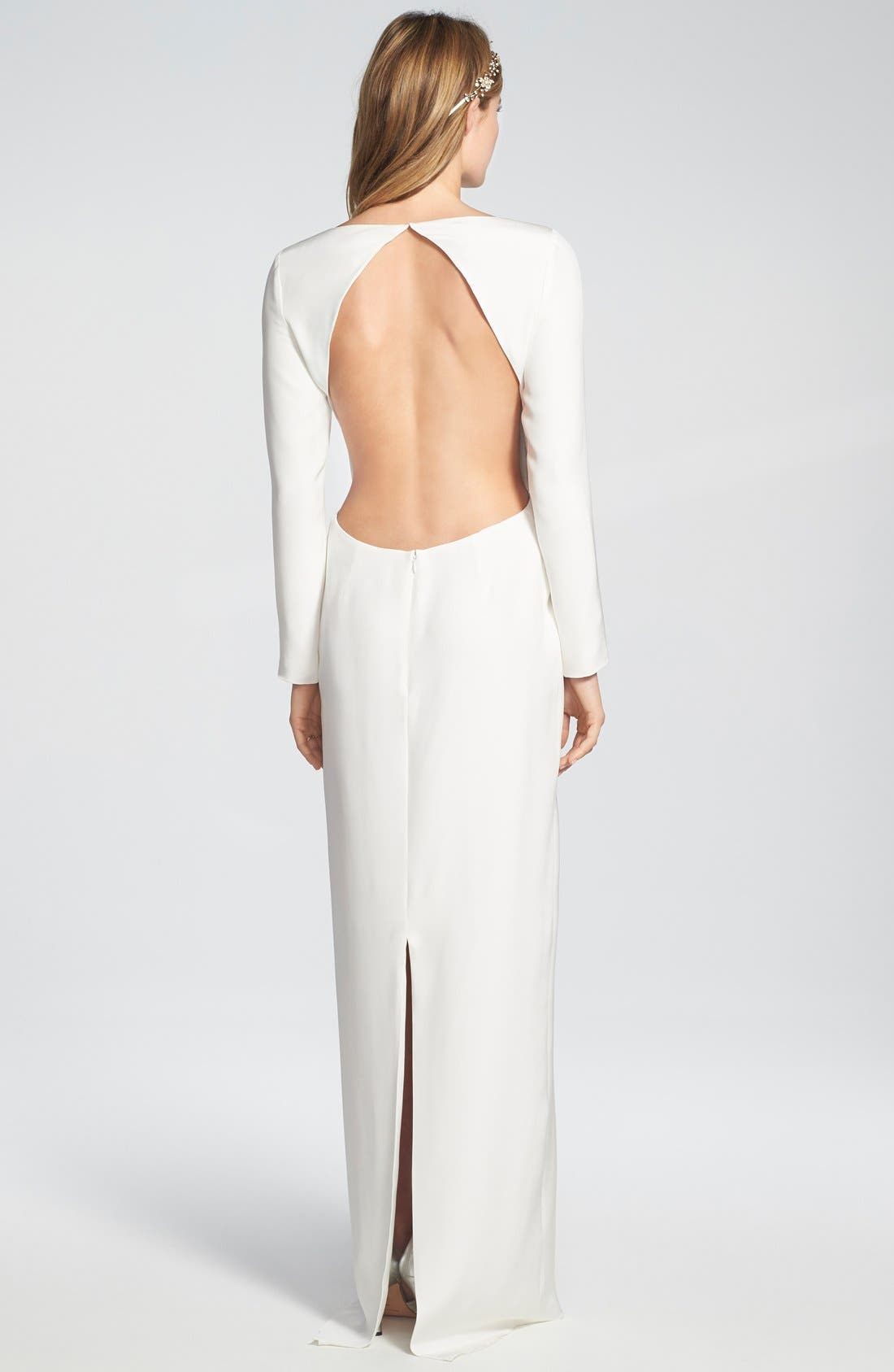 'Cheyne' Open Back Long Sleeve Silk Column Gown,                             Alternate thumbnail 5, color,                             900