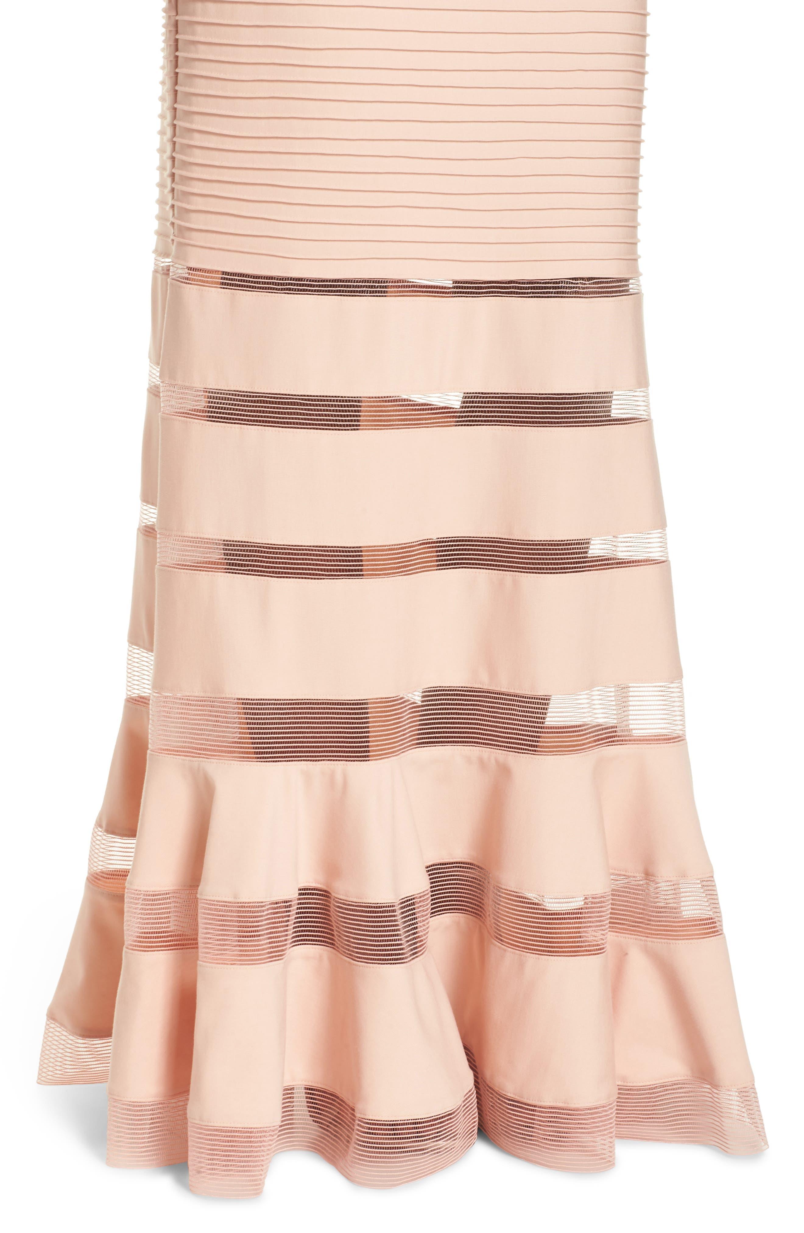 Mesh Inset Pintuck Dress,                             Alternate thumbnail 4, color,                             PETAL/ BLOOM