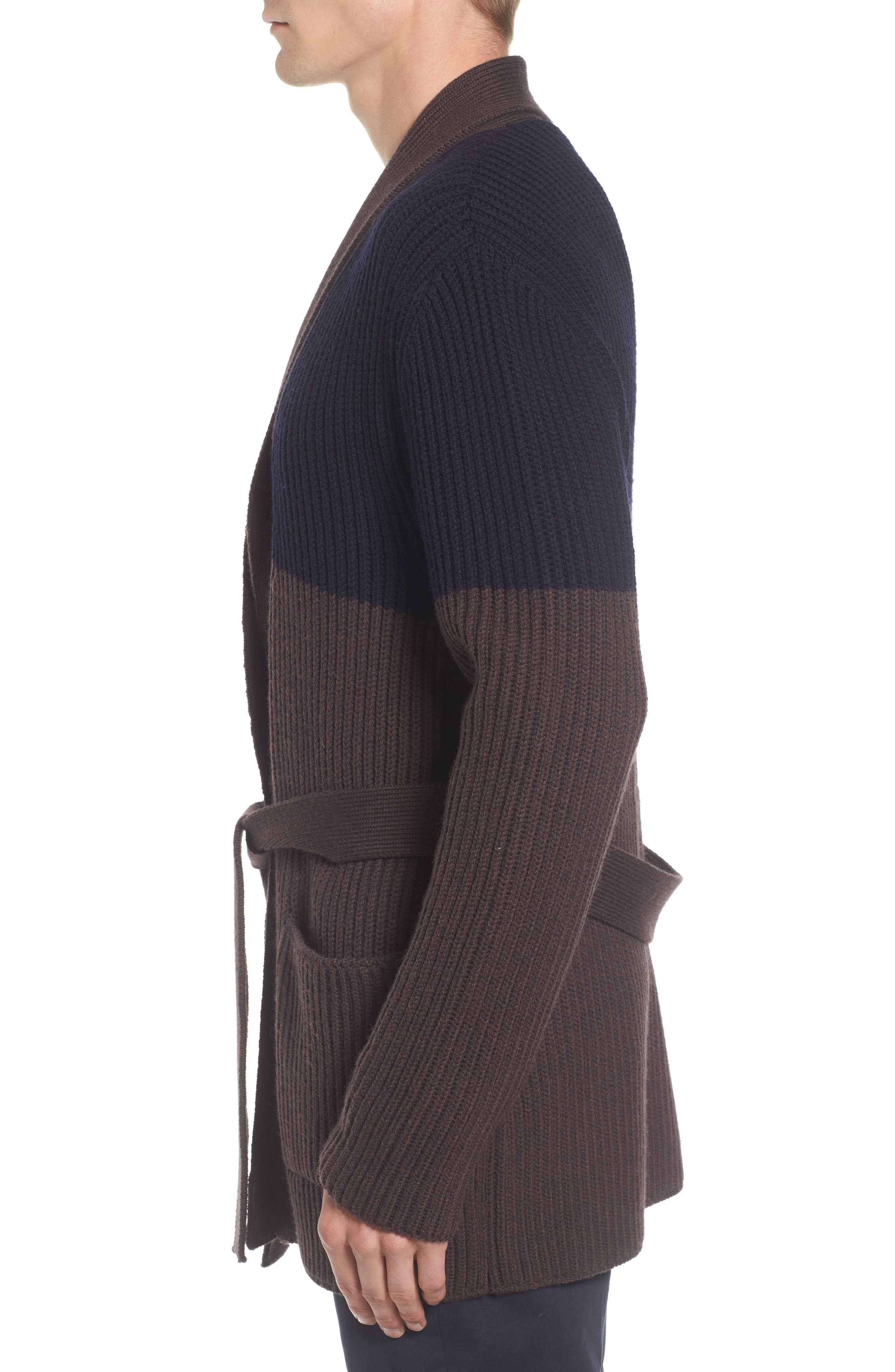 Colorblock Wool Wrap Sweater,                             Alternate thumbnail 3, color,                             404