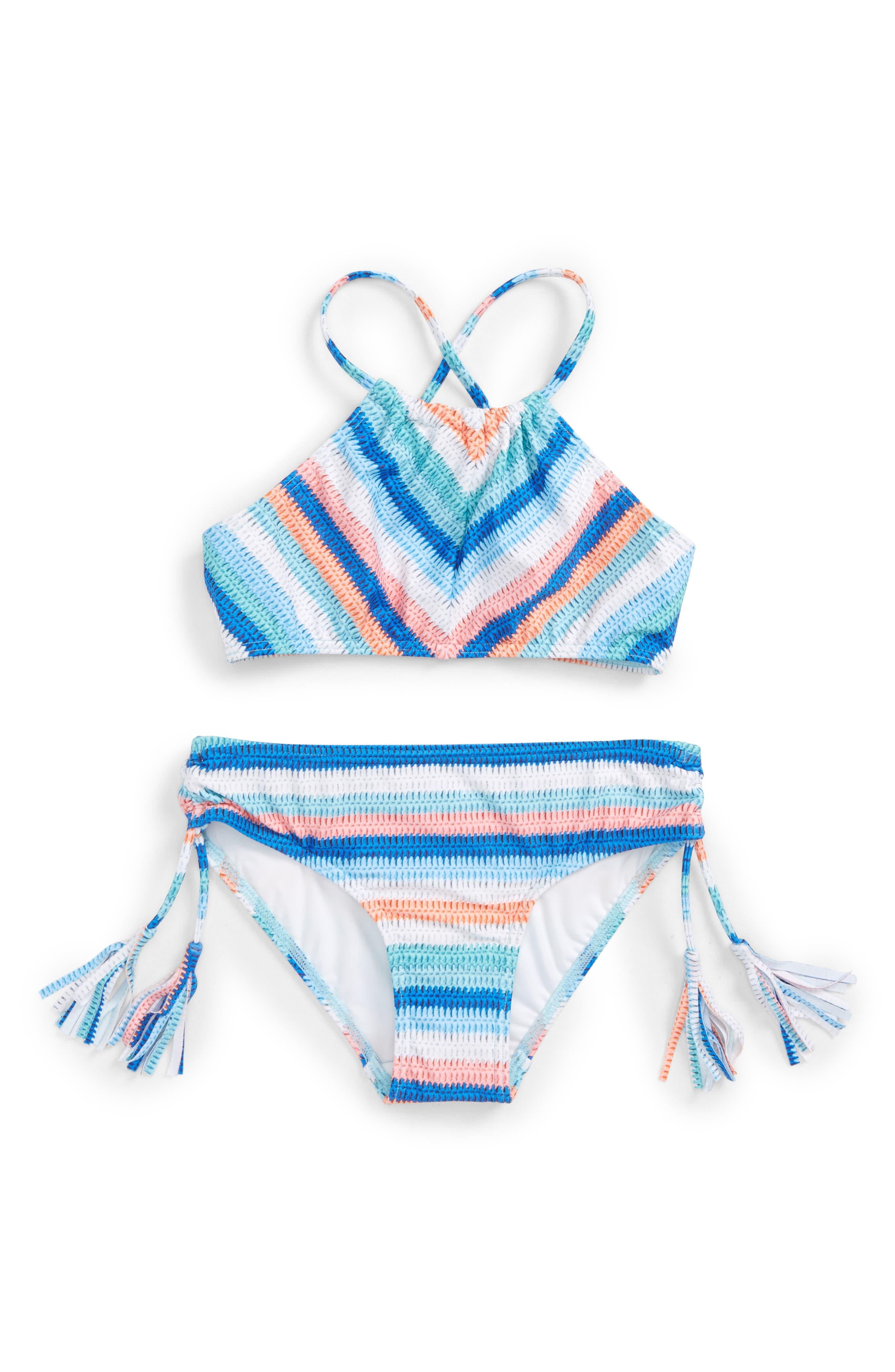 Moon Child Stripe Two-Piece Swimsuit,                             Main thumbnail 1, color,                             405