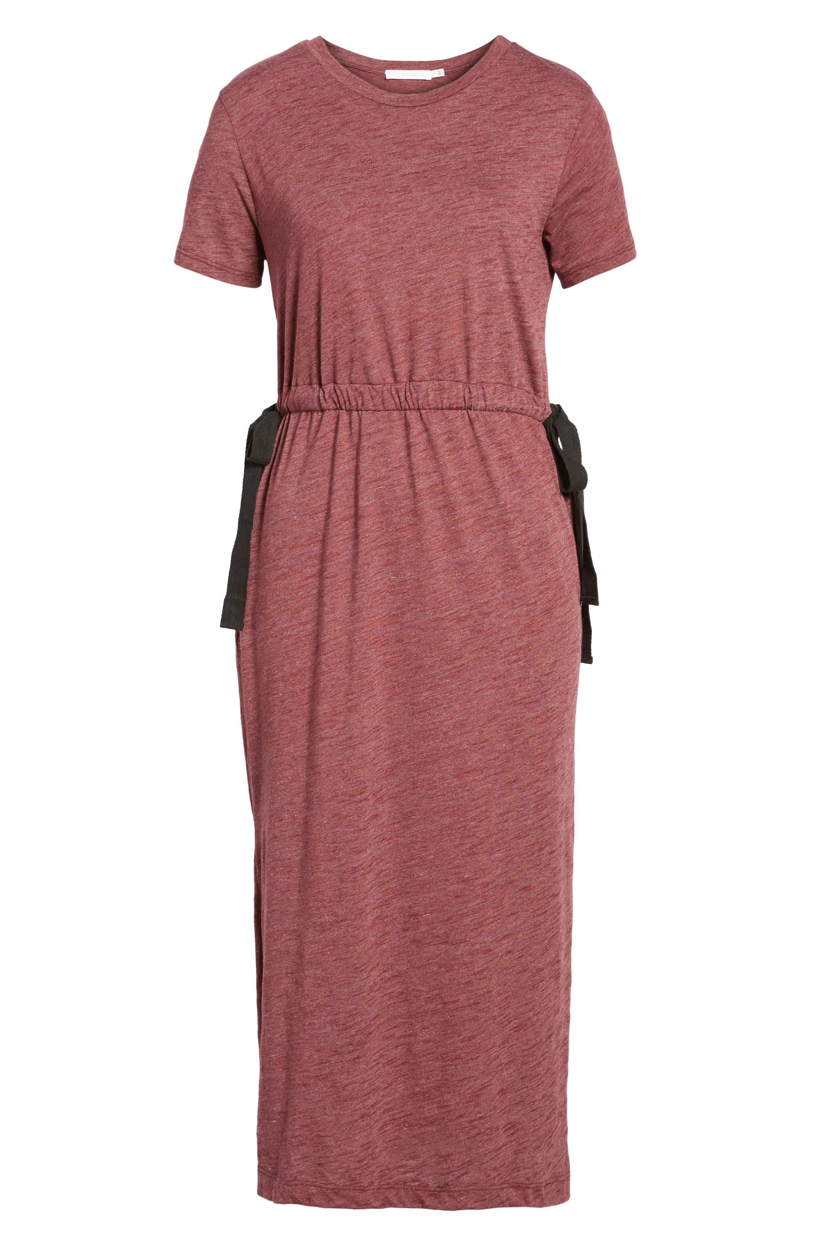 Side Tie Midi T-Shirt Dress,                             Alternate thumbnail 18, color,