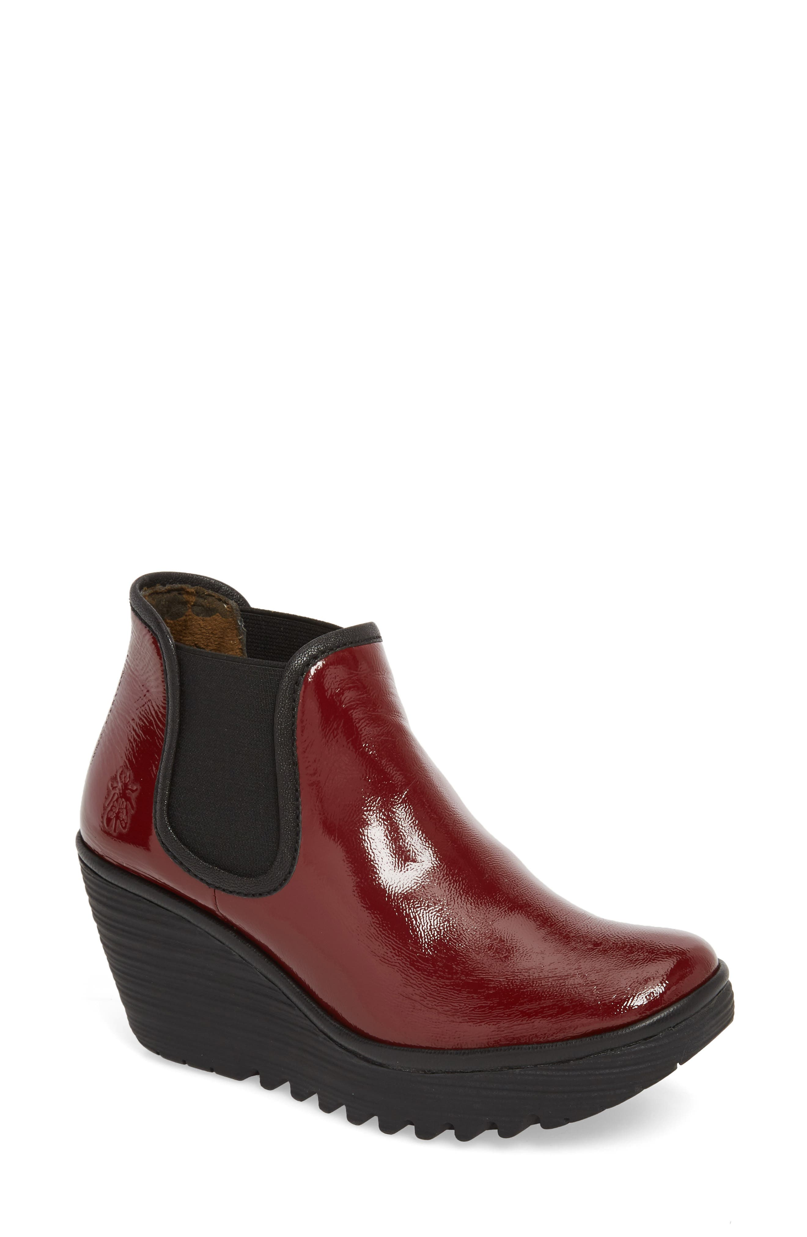'Yat' Wedge Bootie,                         Main,                         color, CORDOBA RED/ BLACK/ MOUSSE