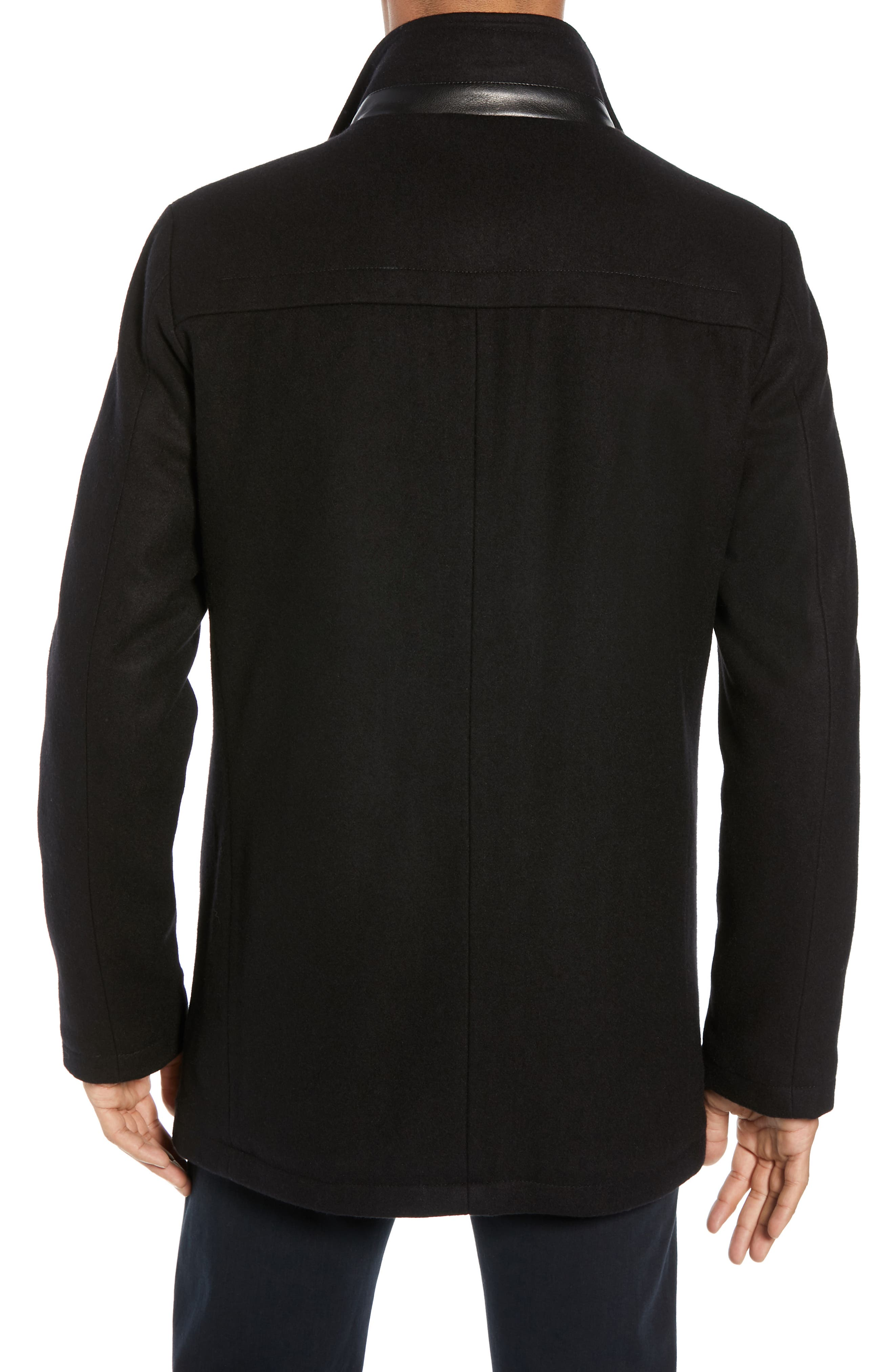 Classic Wool Blend Car Coat with Inset Bib,                             Alternate thumbnail 2, color,                             BLACK