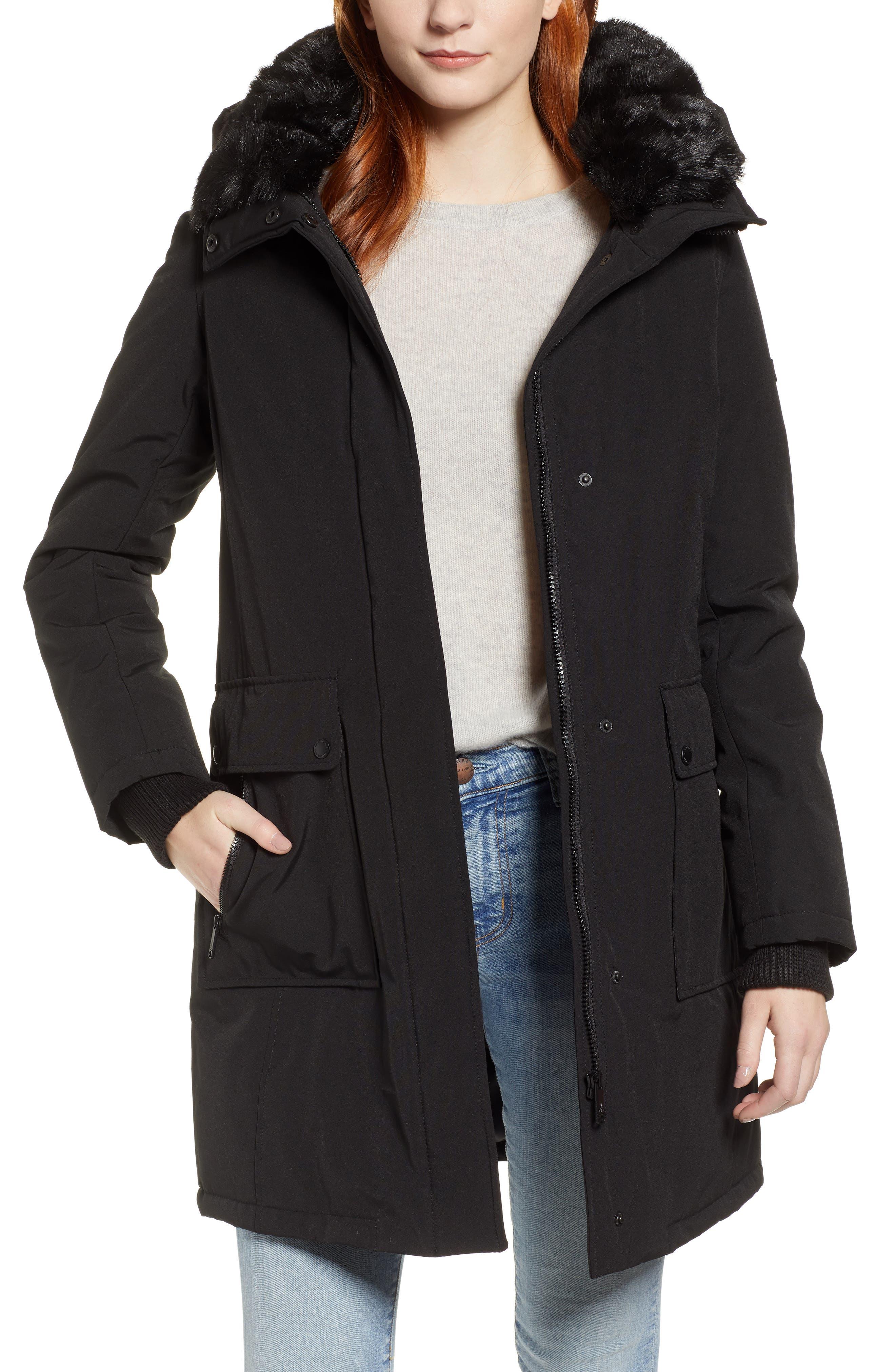 Faux Fur Trim Canvas Parka,                         Main,                         color, BLACK